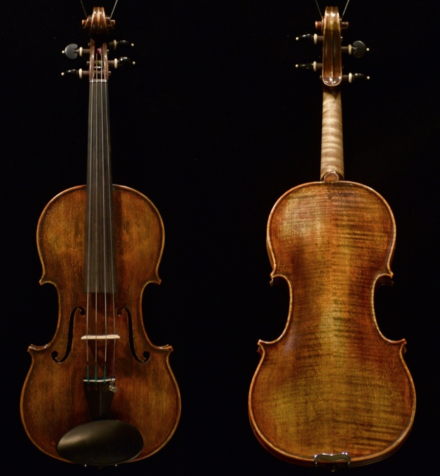The violin pictured above was made by K e i t h H i l l and his research partner, a r t i o m s i n e l n i k o v,    who was also his acoustical technology student from Kiev, Ukraine