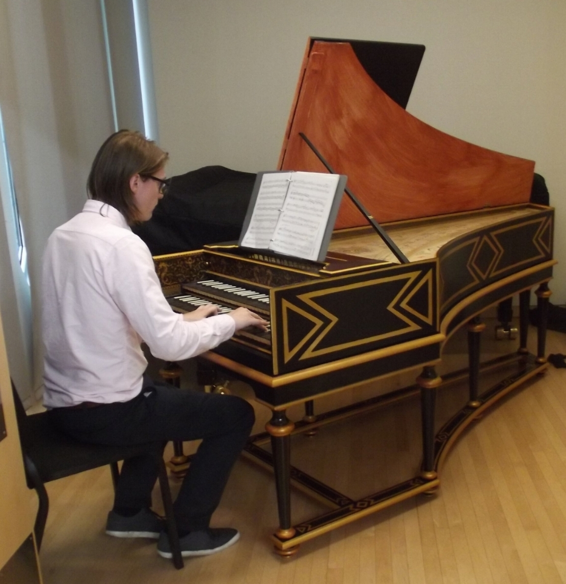 Professor Mark Edwards playing opus 486made after the 1624 colmar Ruckers on october 3, 2016 at the Oberlin conservatory in oberlin, ohio.