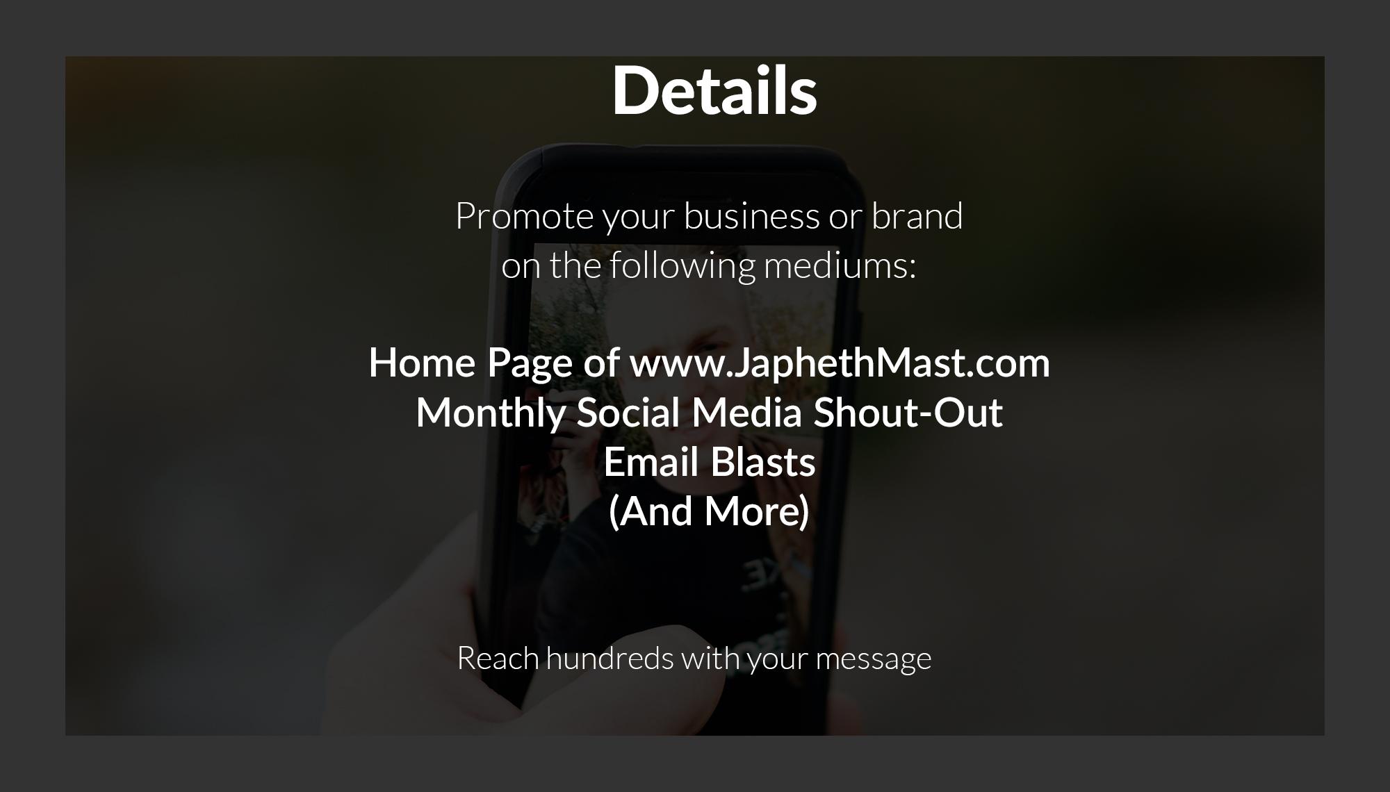 Japheth Mast Blog Sponsorship - Brand, Business, and Product Promotion