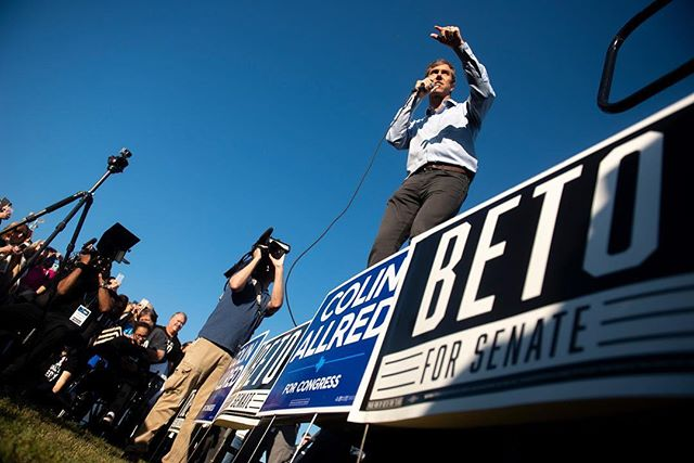 "Senate candidate Beto O'Rourke joined Rep. Colin Allred for a ""Get Out the Vote"" rally, march to the polls Saturday morning at Fretz Park in Dallas, along with other Democratic speakers in support. 