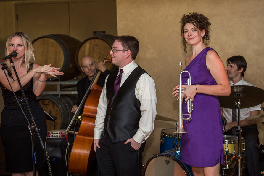 """WEDDING  - """"The Secret Jazz Band Featuring Katie Harris made my day so incredibly special. They were professional, on time, and prepared with the song selections and announcements. Having live music at the wedding made such a difference. As a surprise, our family members request they play a song for us. The band was more than accommodating and seemed thrilled to welcome the opportunity to play with more people. Katie sang beautifully and the other players did an incredible job. Even after lots of people had moved outside, the band continued to play and it was a great moment for us to sneak in another dance. They made my wedding the best day of my life.""""  -Renee F, Temecula, CA"""