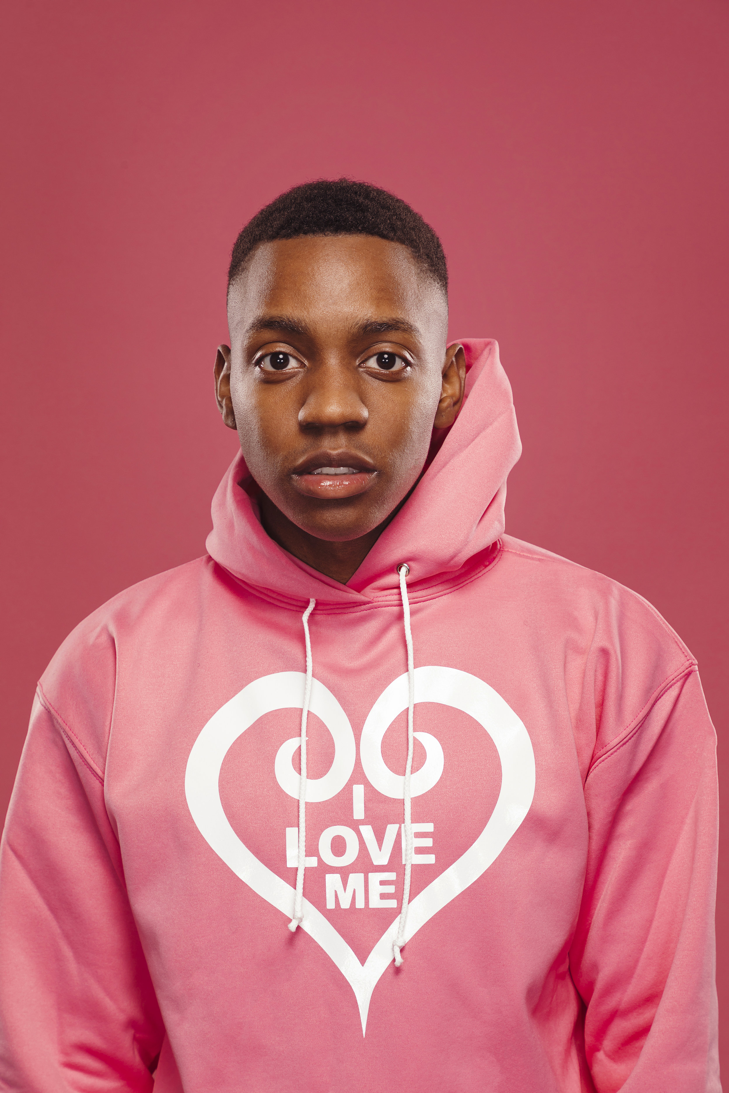 Soft Pink Hoodie, White Heart - Shop Now