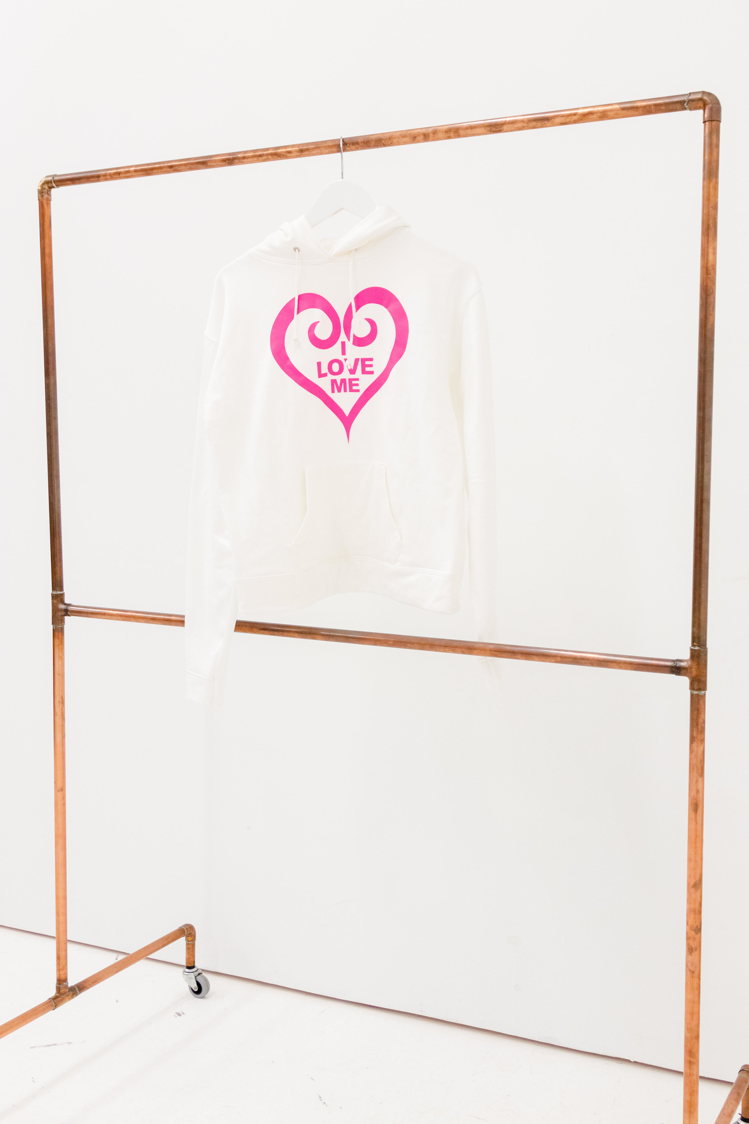 White Hoodie, Hot Pink Heart - Shop Now