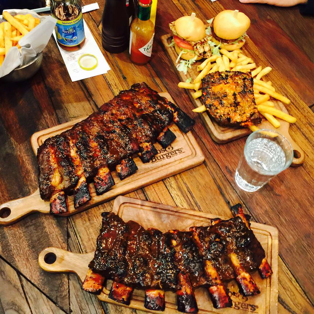 Two BBQ beef ribs full rack and lamb ribs combo (with sliders)