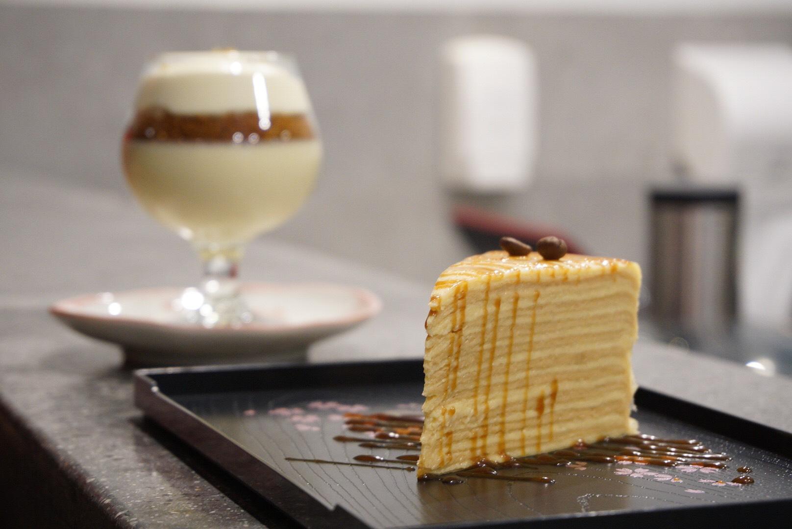 Pretty looking caramel macchiato crepe cake