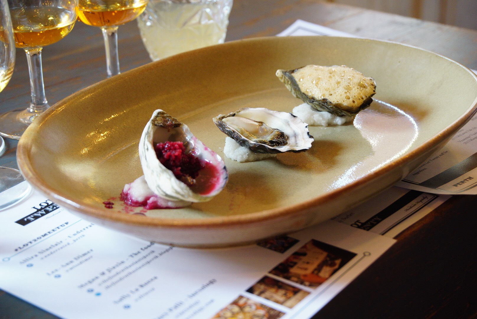 Oysters with beetroot granita, natural and espresso foam