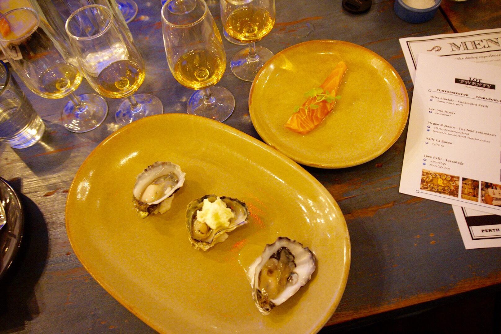 Cold smoked oyster with horseradish cream, plus sashimi salmon with vanilla oil