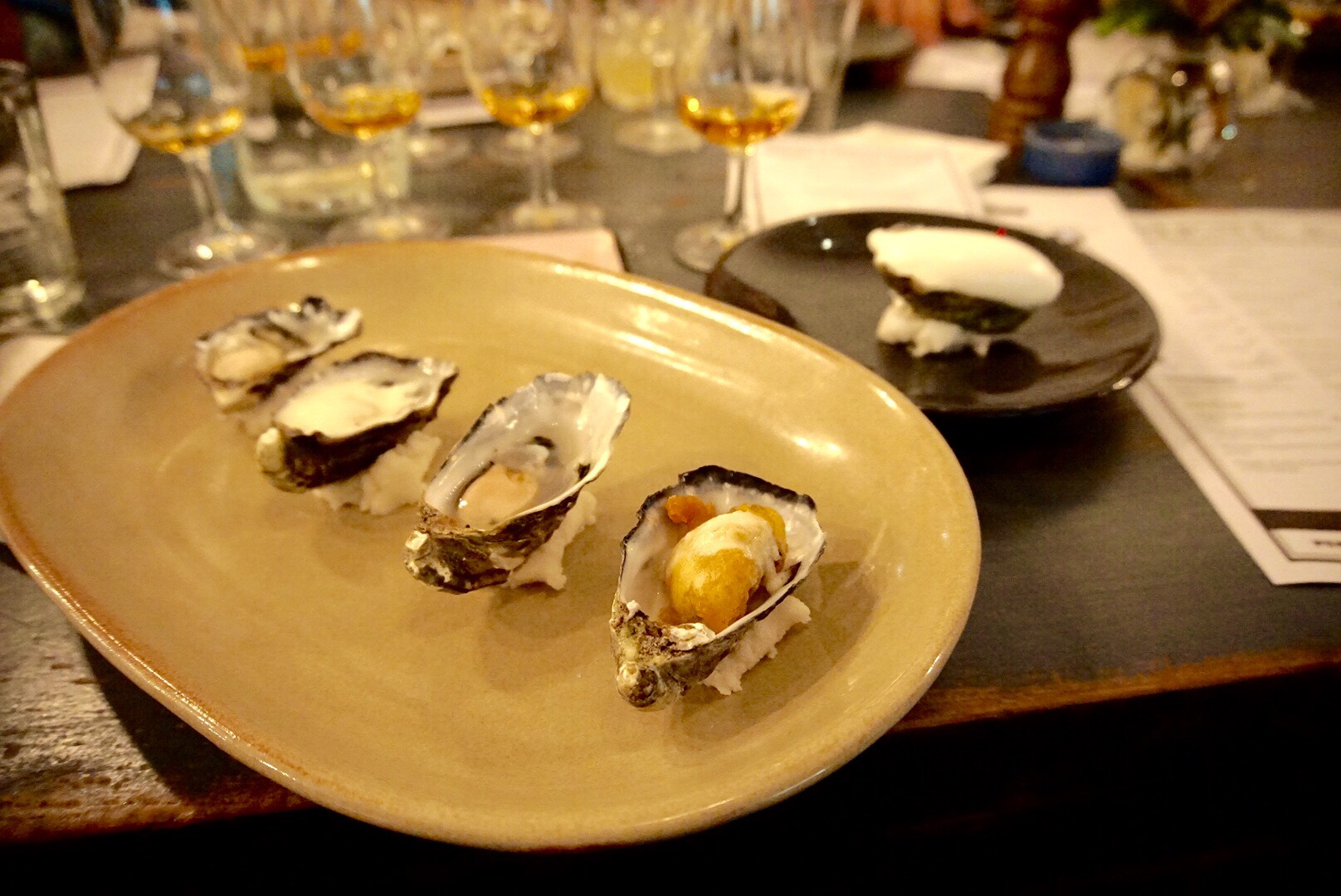Check out the Oyster Beignet and the Laphroaig sorbet at the back!