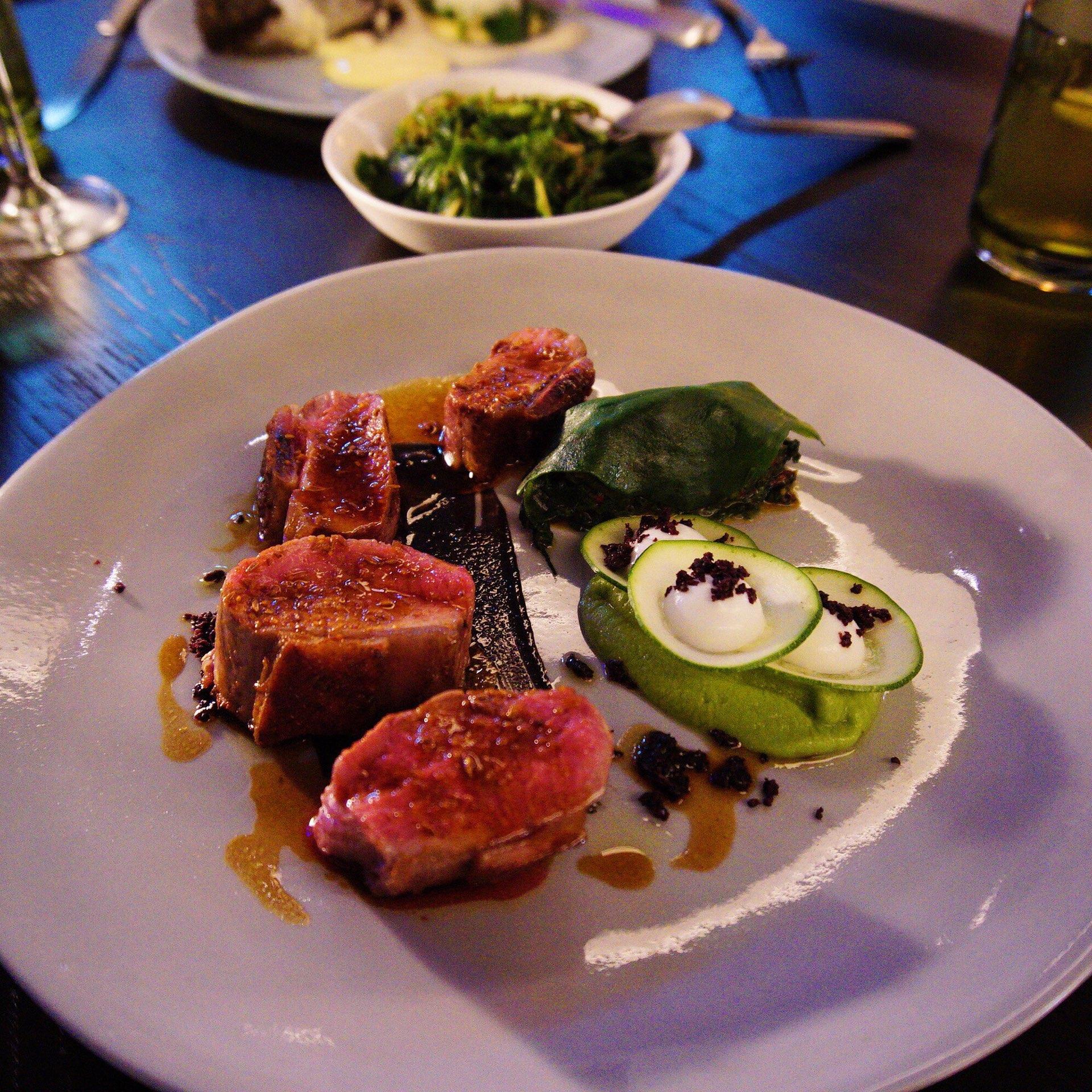 Arkady Lamb with warrigal greens, green pea mash, sheep's yoghurt, cumin