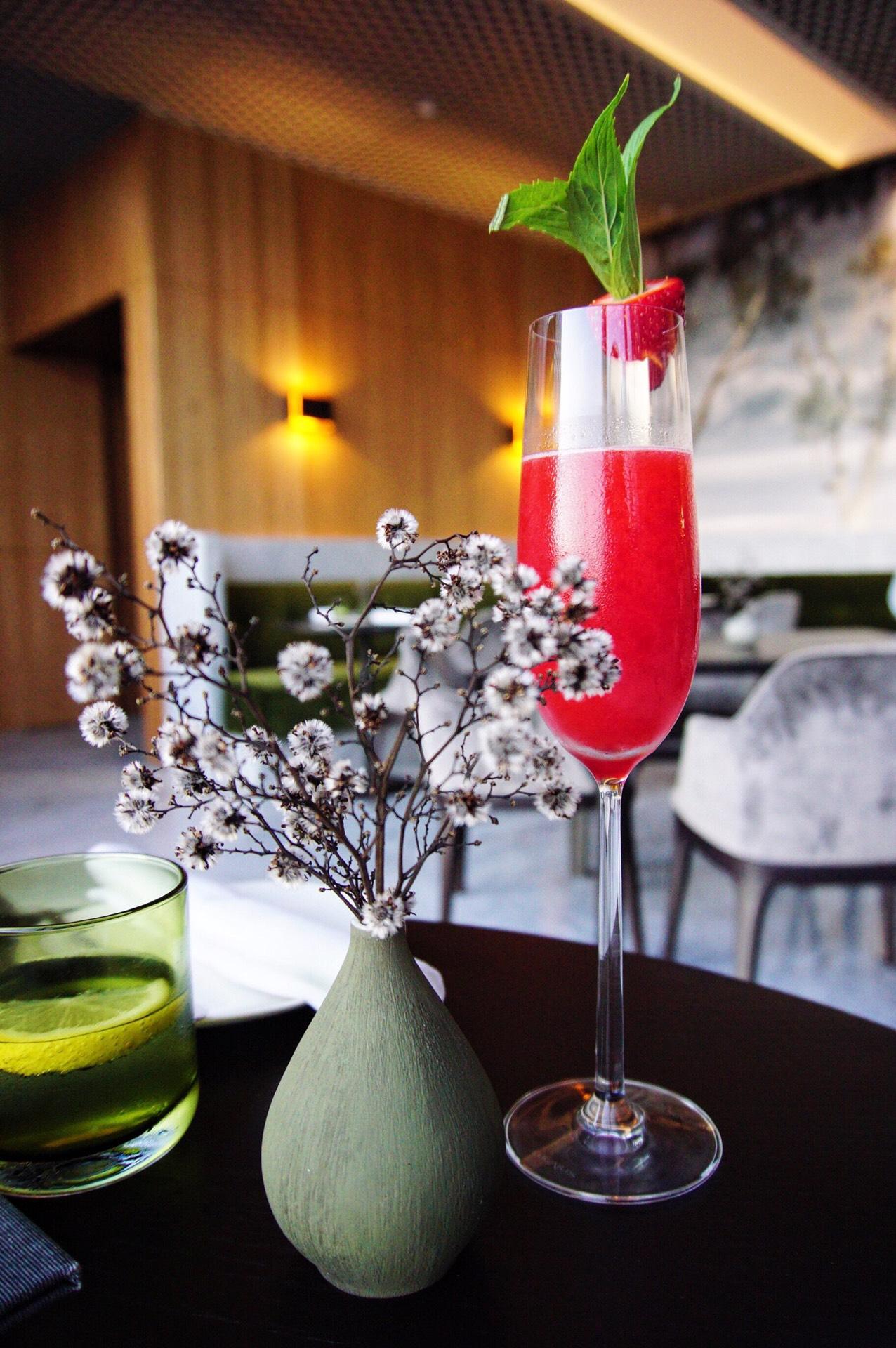 Point Zero: Champagne Taittinger Brut, Massenez Creme de Fraise, St Germain liqueur, berries puree and lemon juice