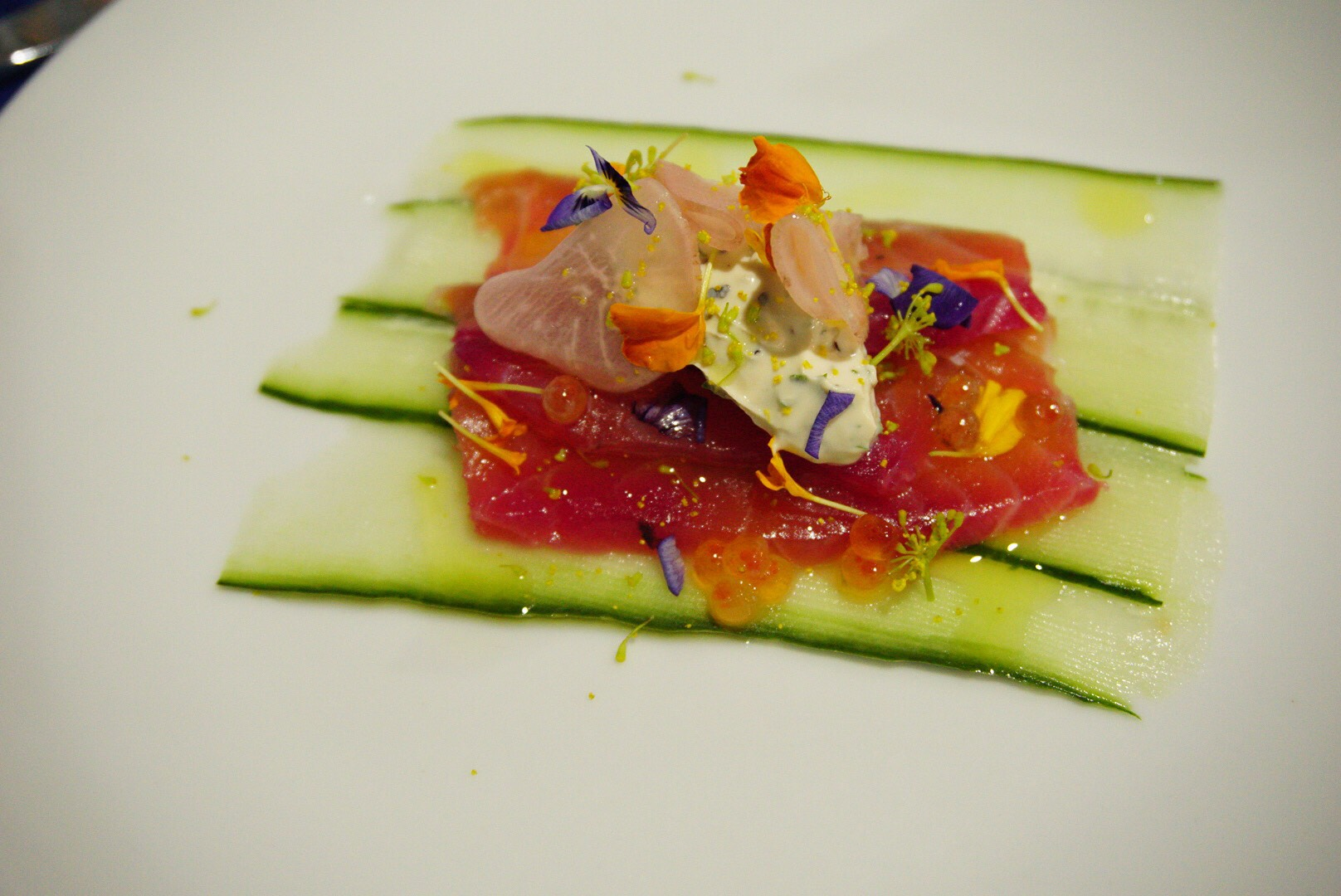 The Pickled Herring's Smoked salmon with roe,dill cream, pickled radish and cucumbers