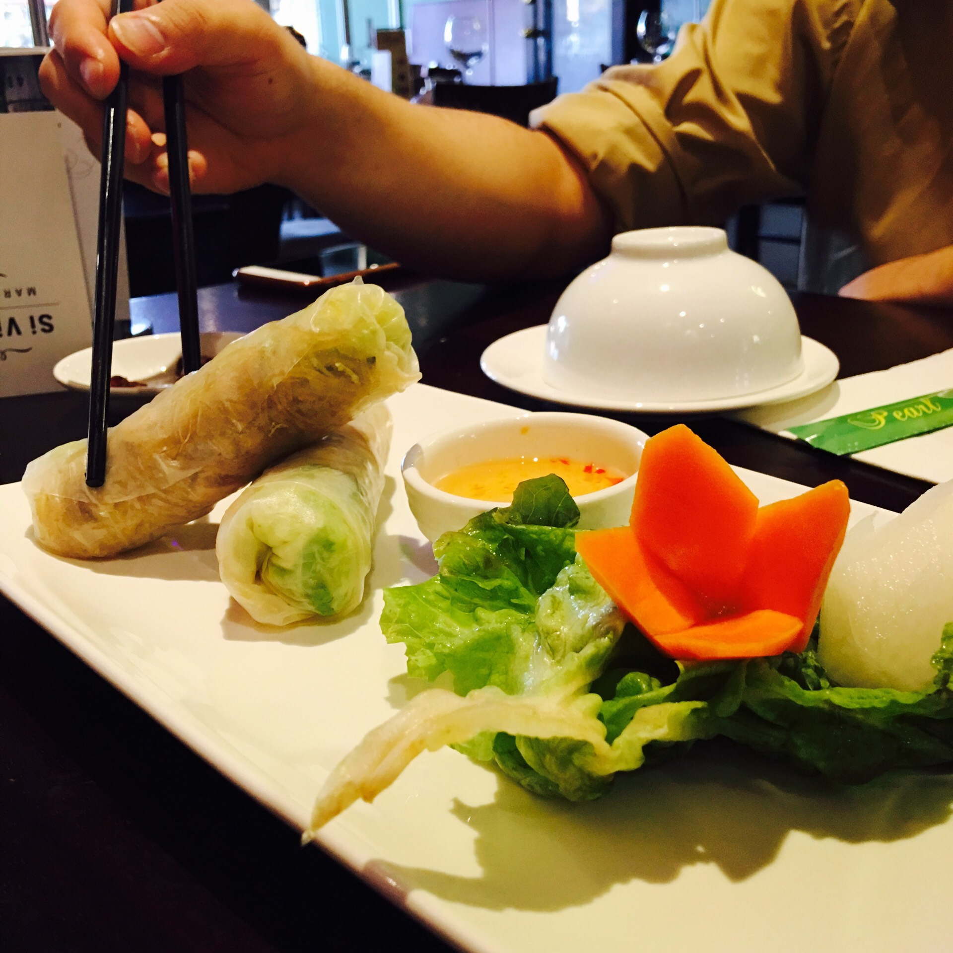 Rice Paper Roll with Shredded Pork at Pearl Restaurant