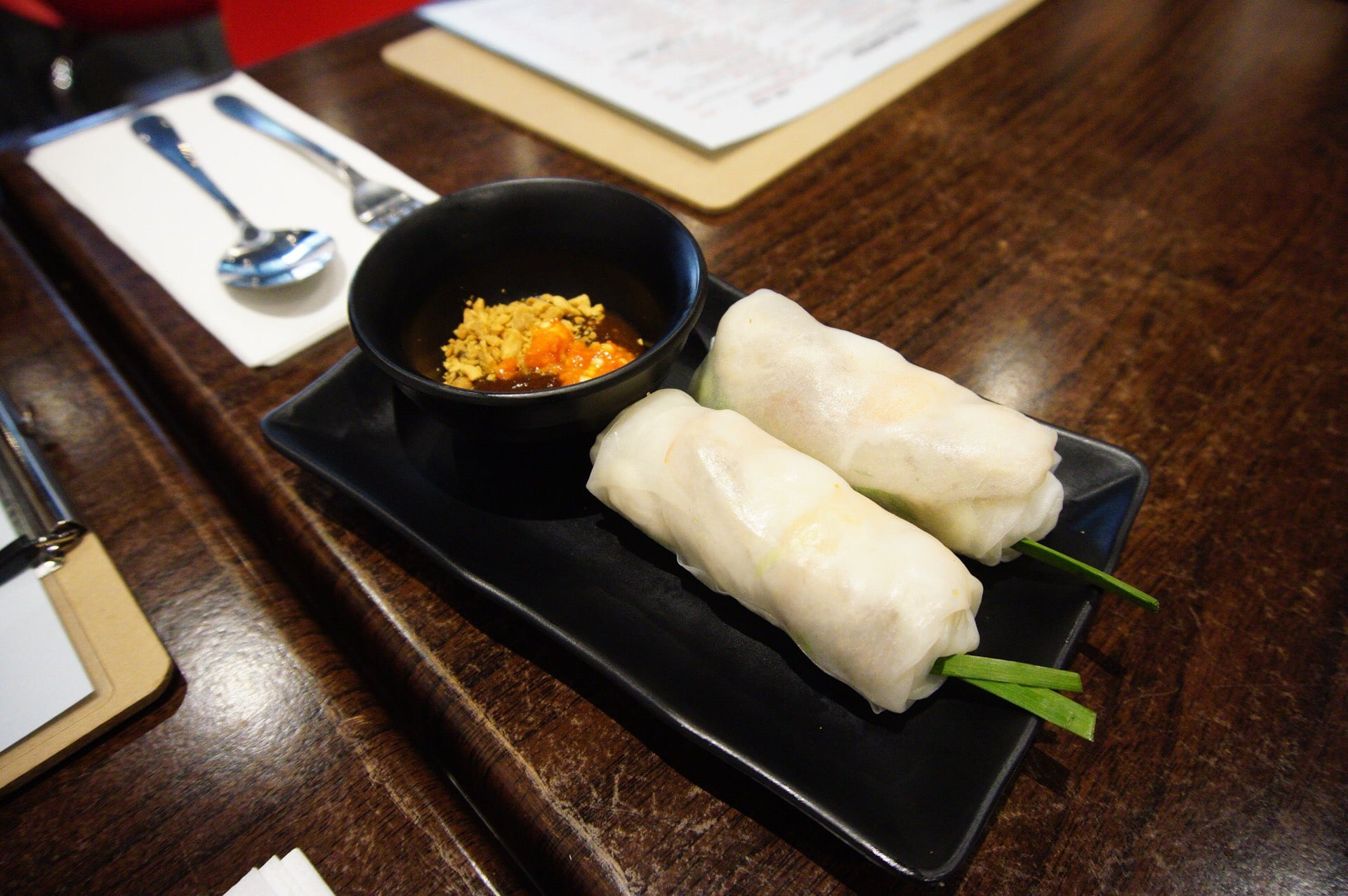Little Grill's Rice paper roll with prawn and shredded pork - $6
