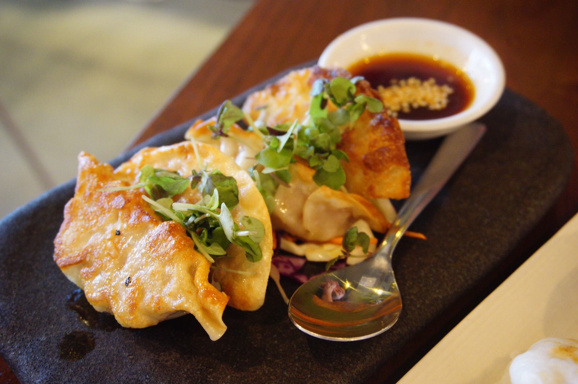 We have chicken and mushroom dumpling here!