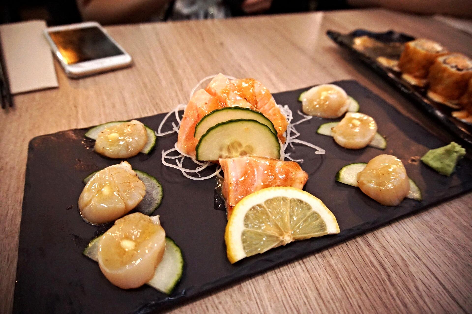 Aburi Sashimi: Hokkaido Sea Scallop with Butter & Soy, NZ King Salmon with Miso