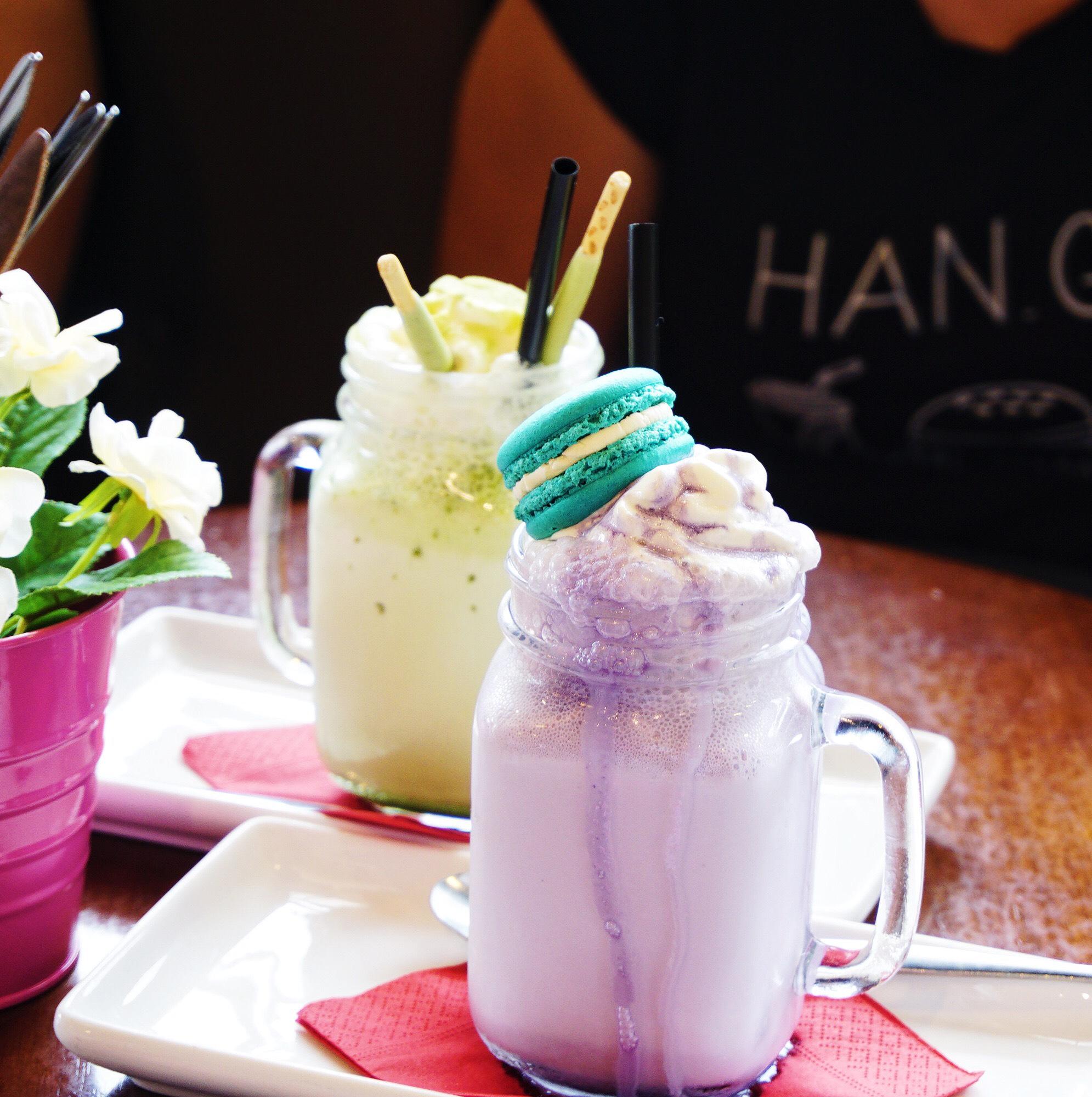 Matcha and taro milkshakes (yum!)