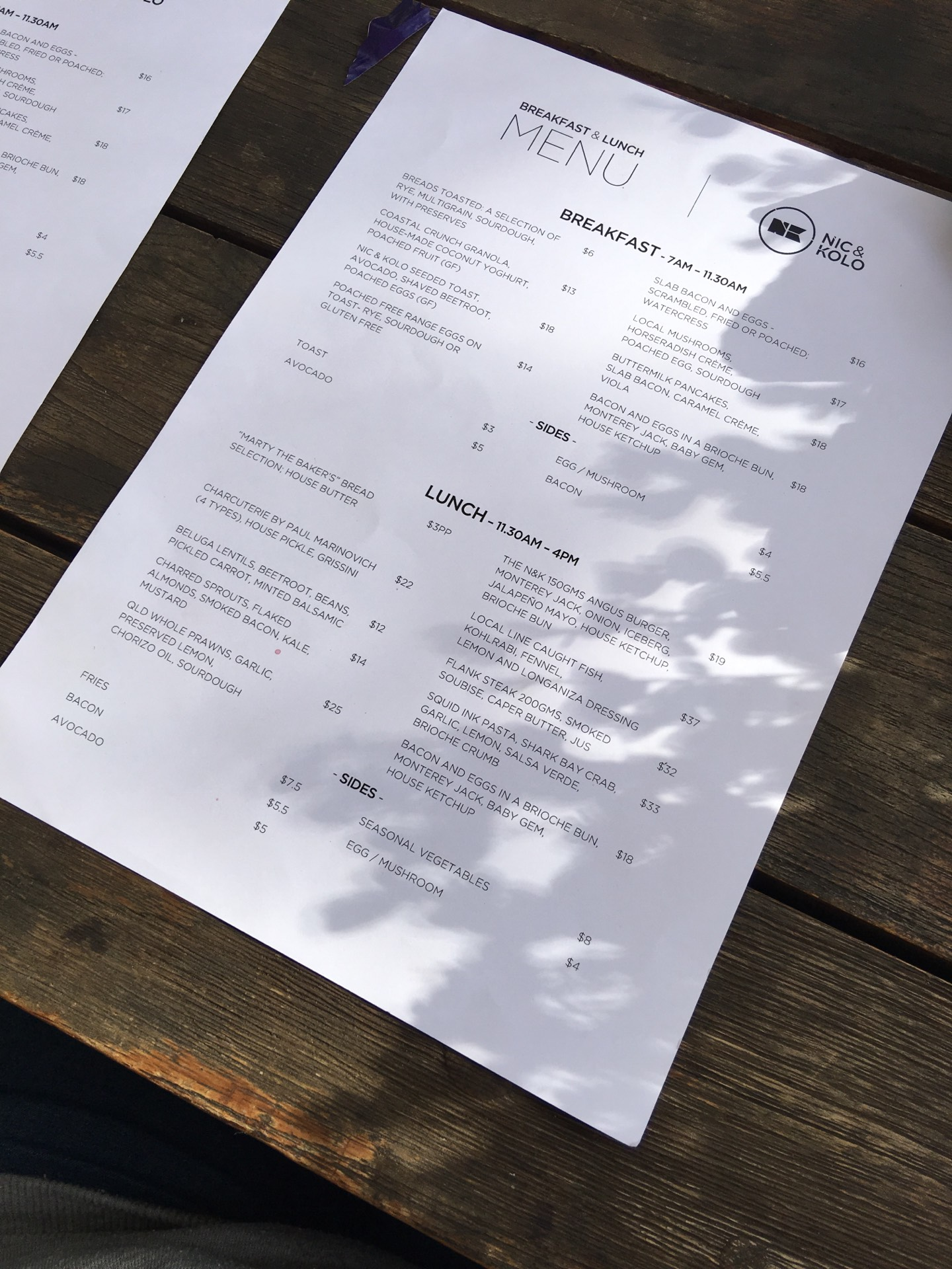 Nic and Kolo Menu