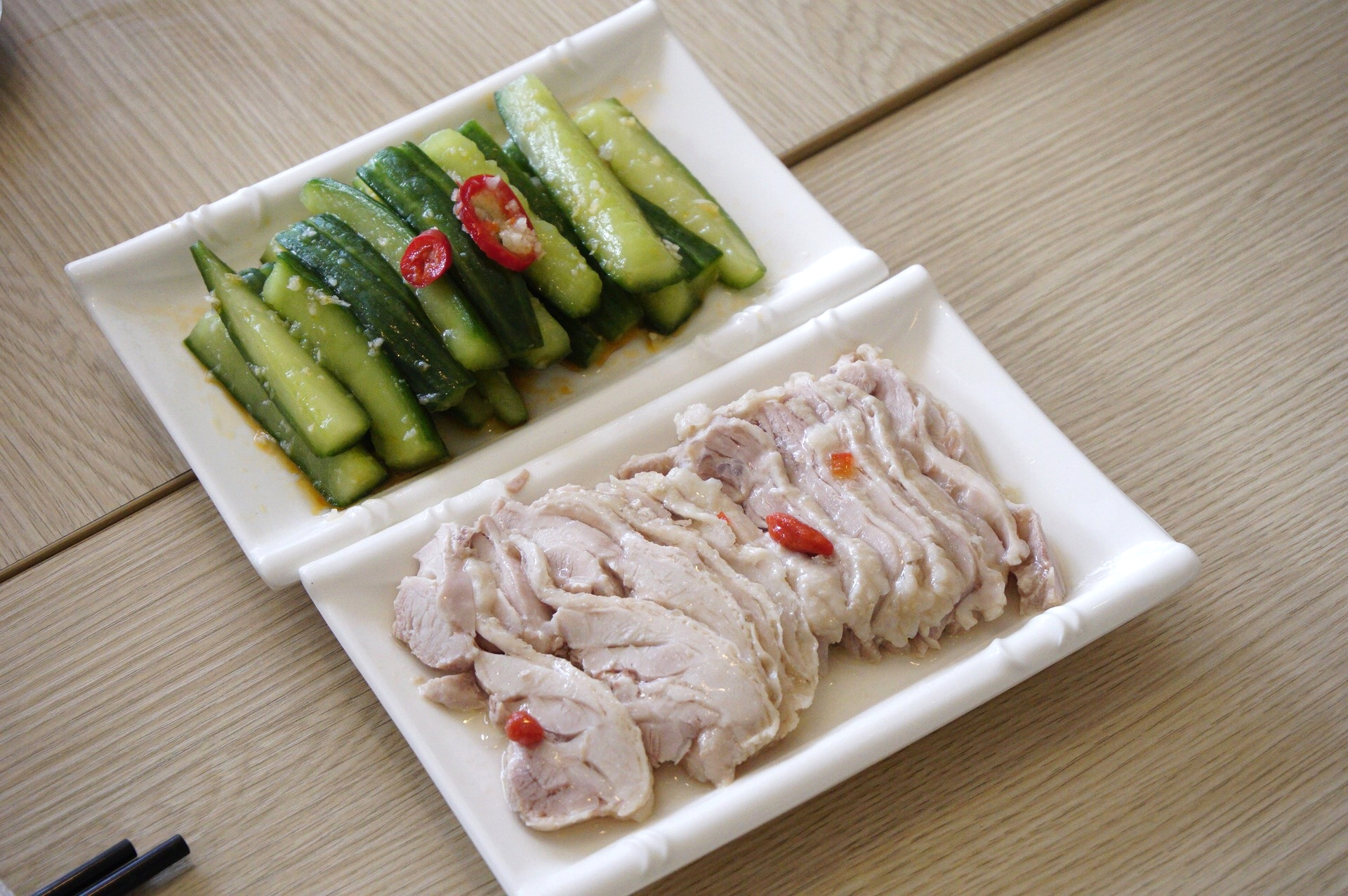 Cucumber Salad and Liquor-Soaked Chicken