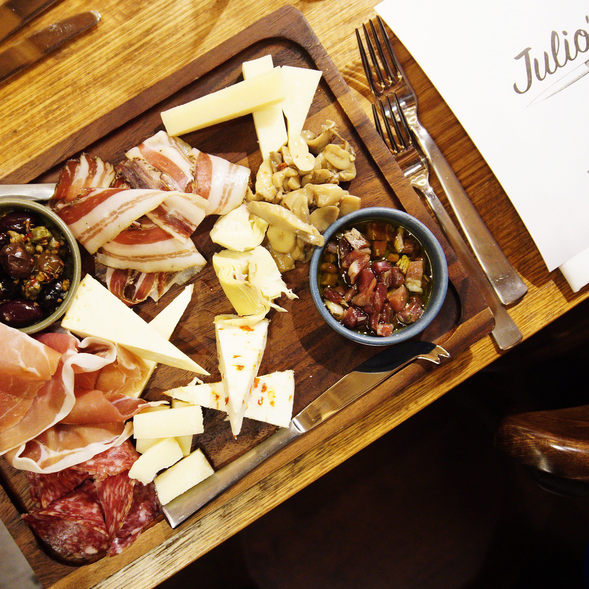 """""""Julio's Board to Share"""" with artisan cold cuts & selection of delicious Italian cheeses (love the spicy one!)"""