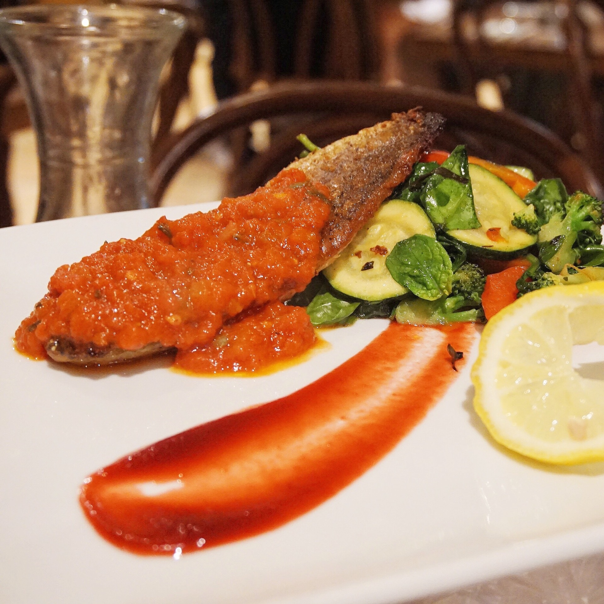 Fried Fish with Tomato Chili Sauce