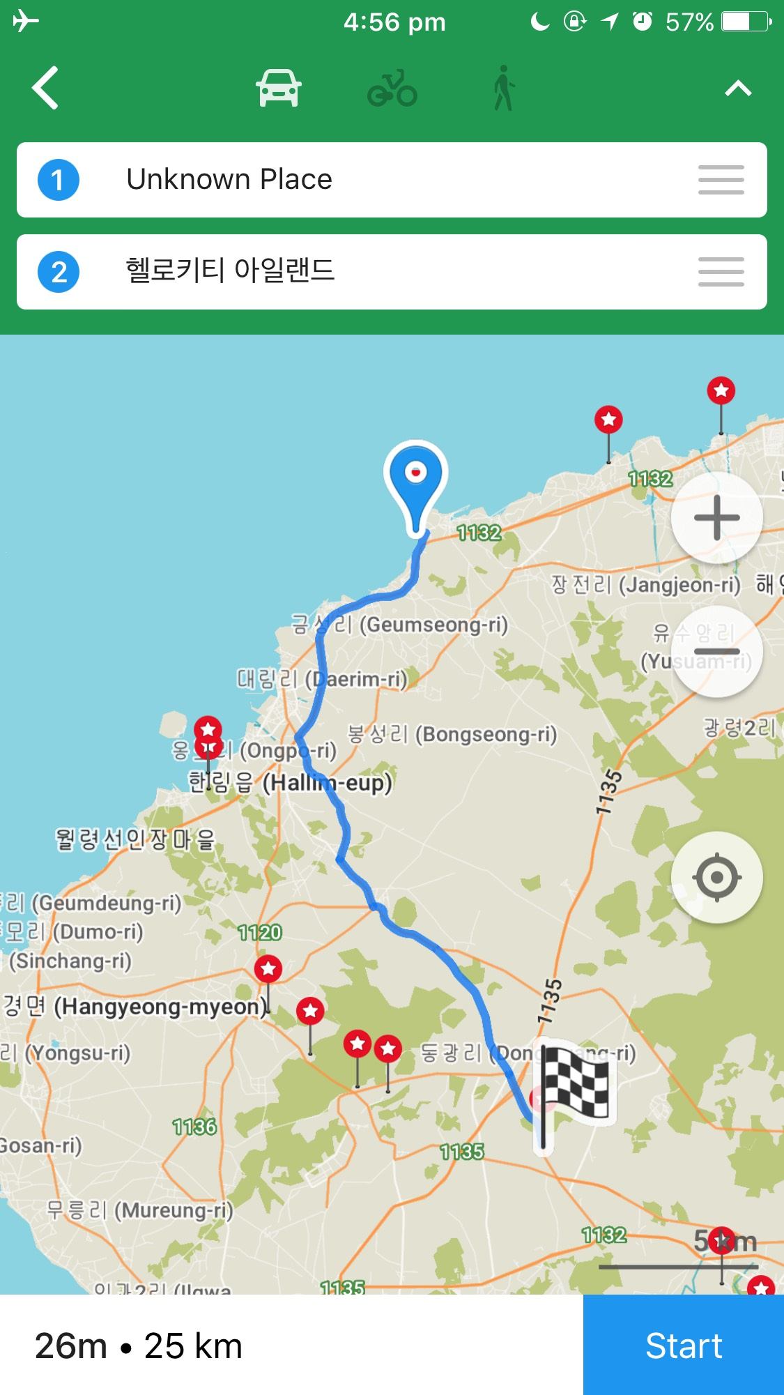Maps.Me Driving Route