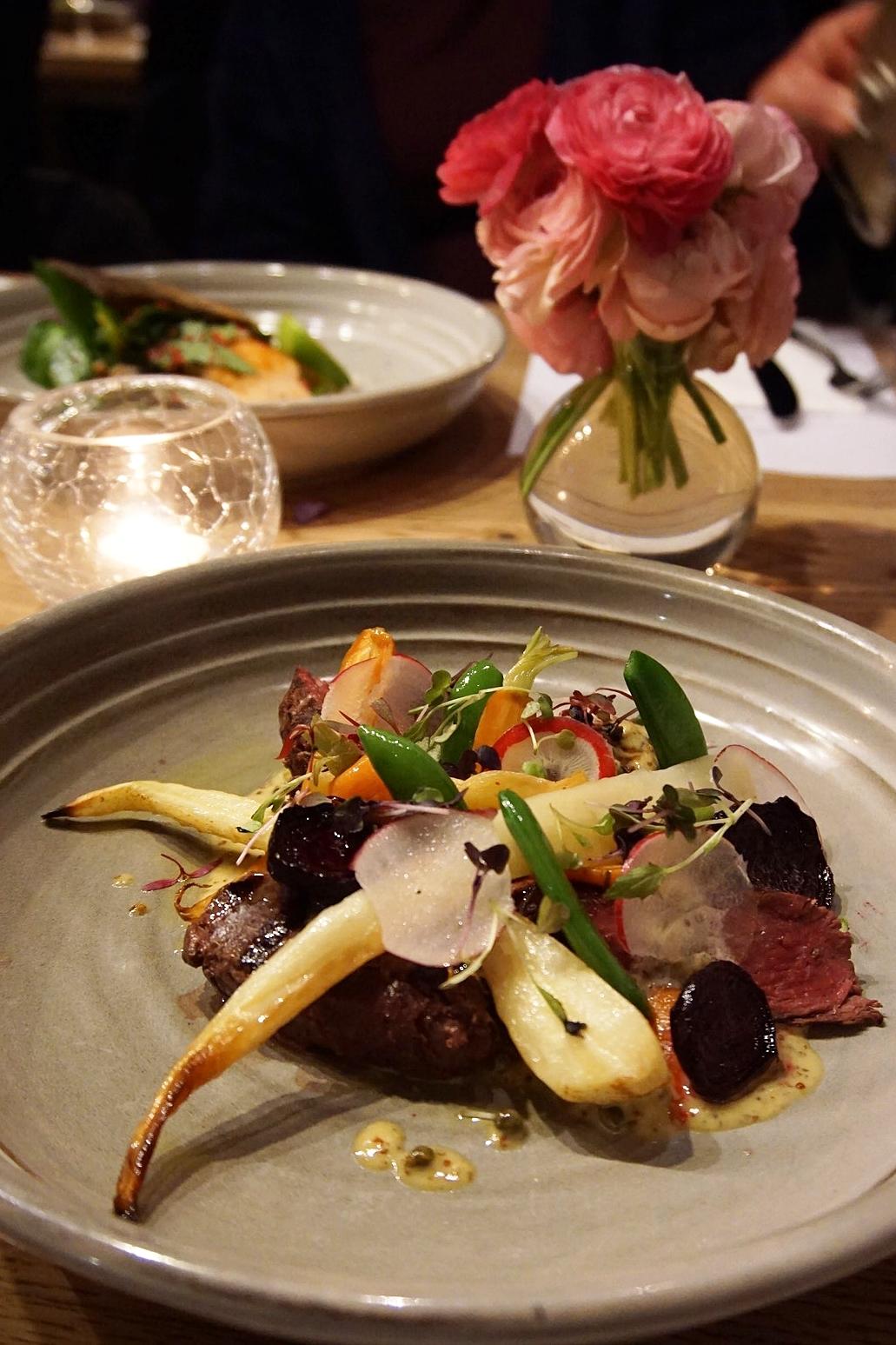 Kangaroo fillet chargrilled, roasted beets, parsnips, baby carrots, horseradish & mustard relish medium rare (gf)