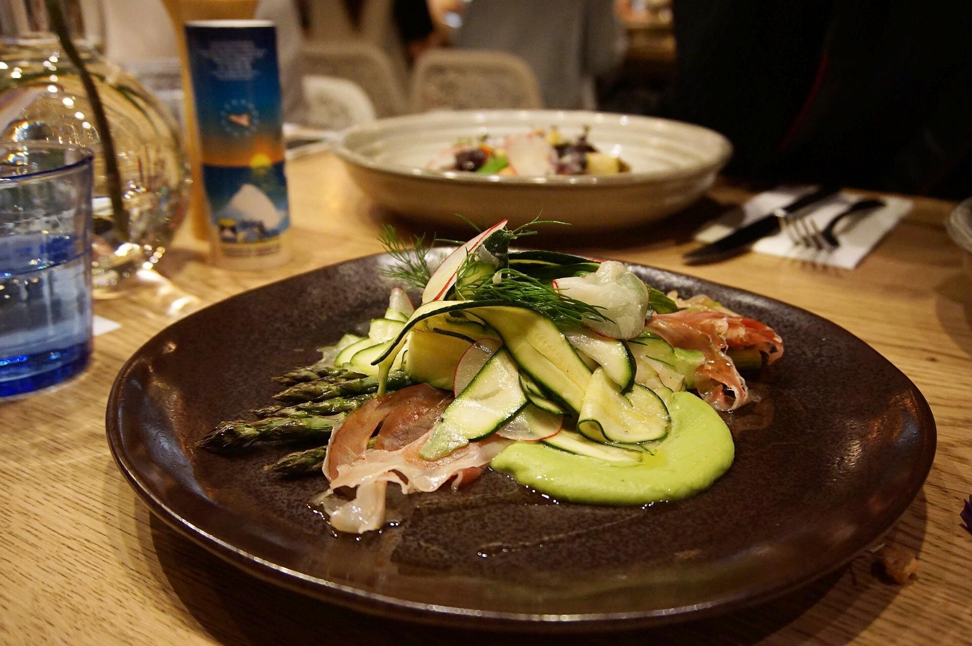Torbay asparagus, green pea puree, Prosciutto di Parma, courgette, dill, radish, shaved parmesan salad (gf)
