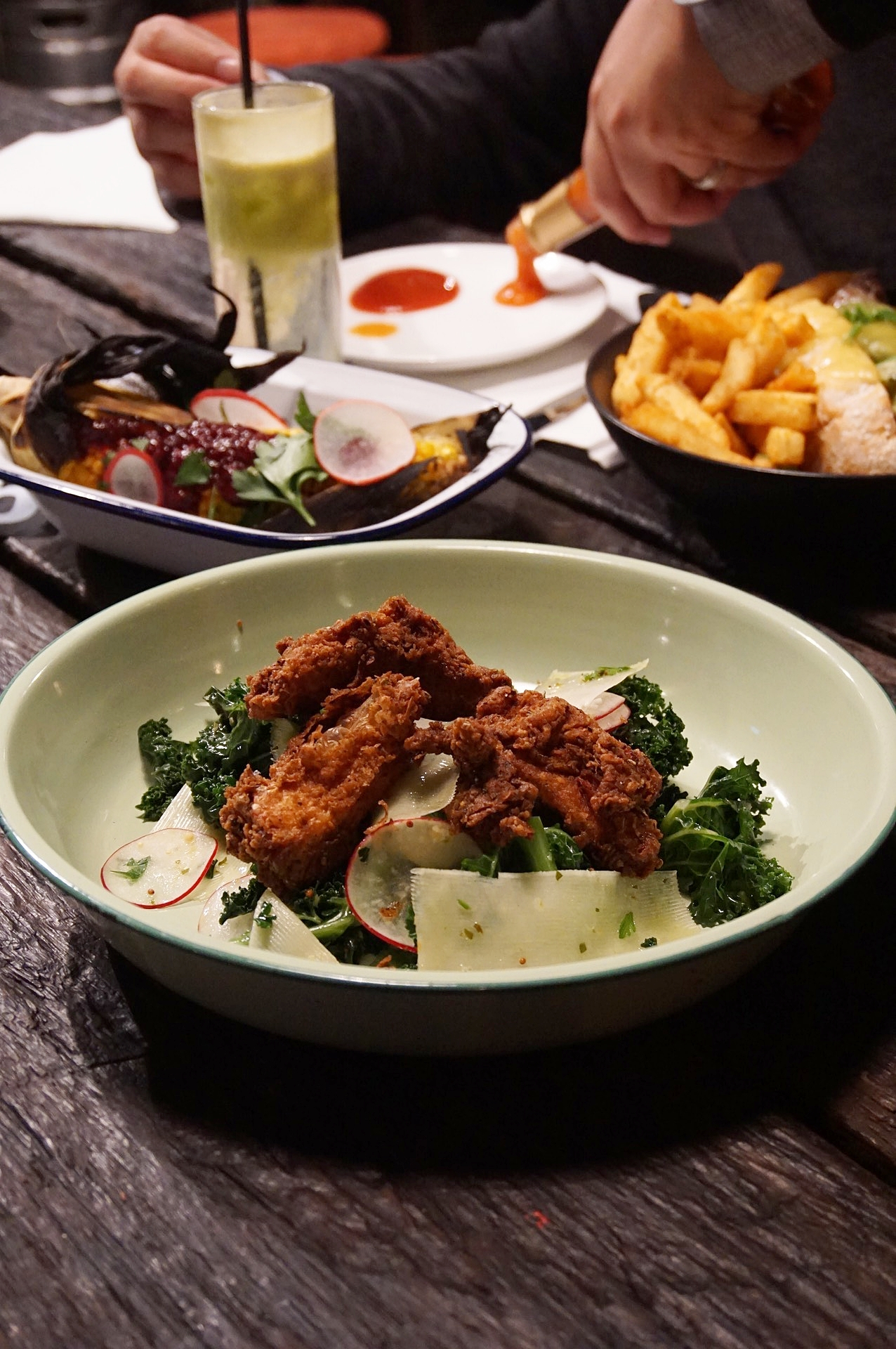 Southern Fried Chicken with Crispy Kale $18