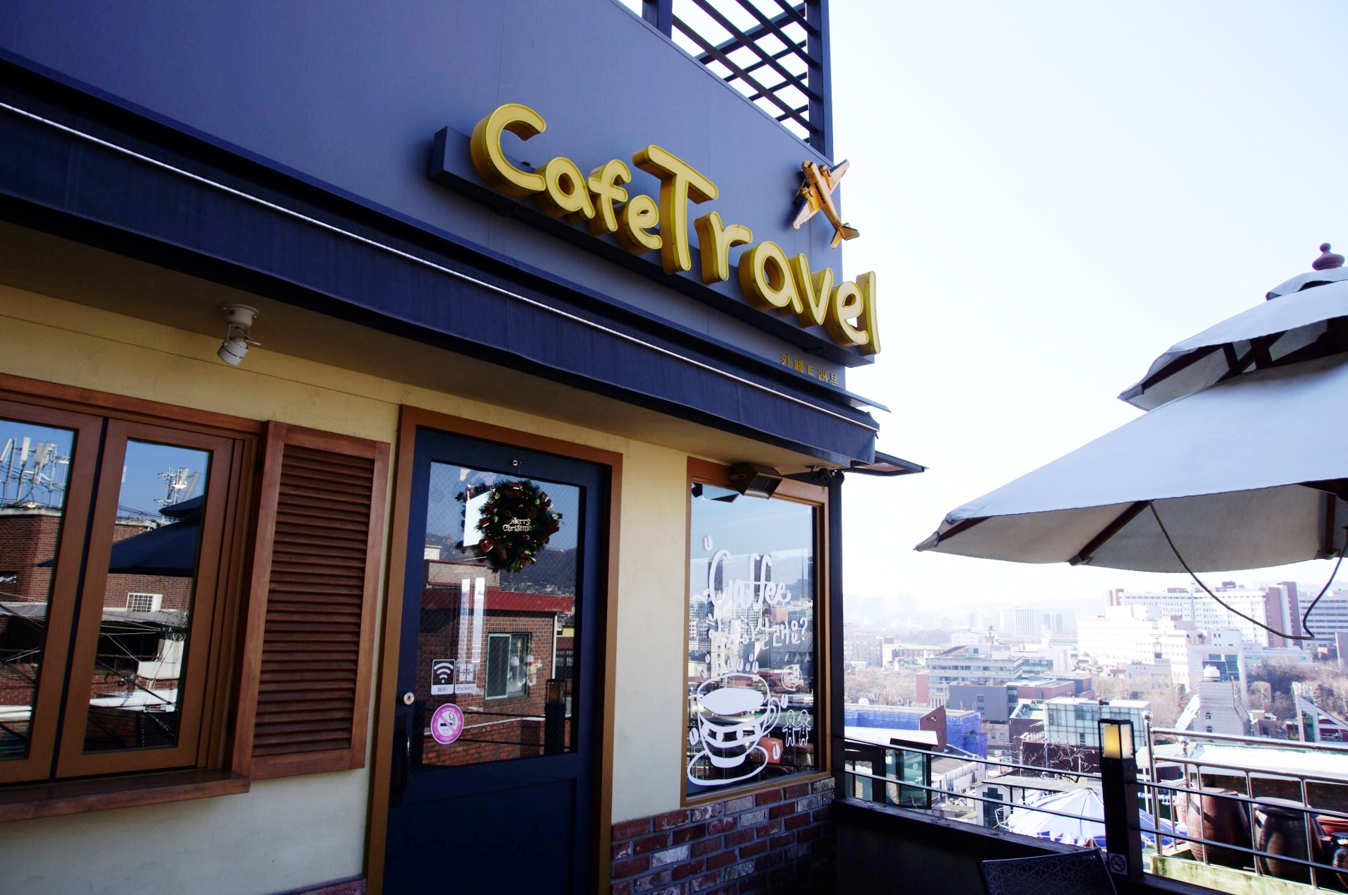 The cafe is called: 카페트레블 / Travel Cafe