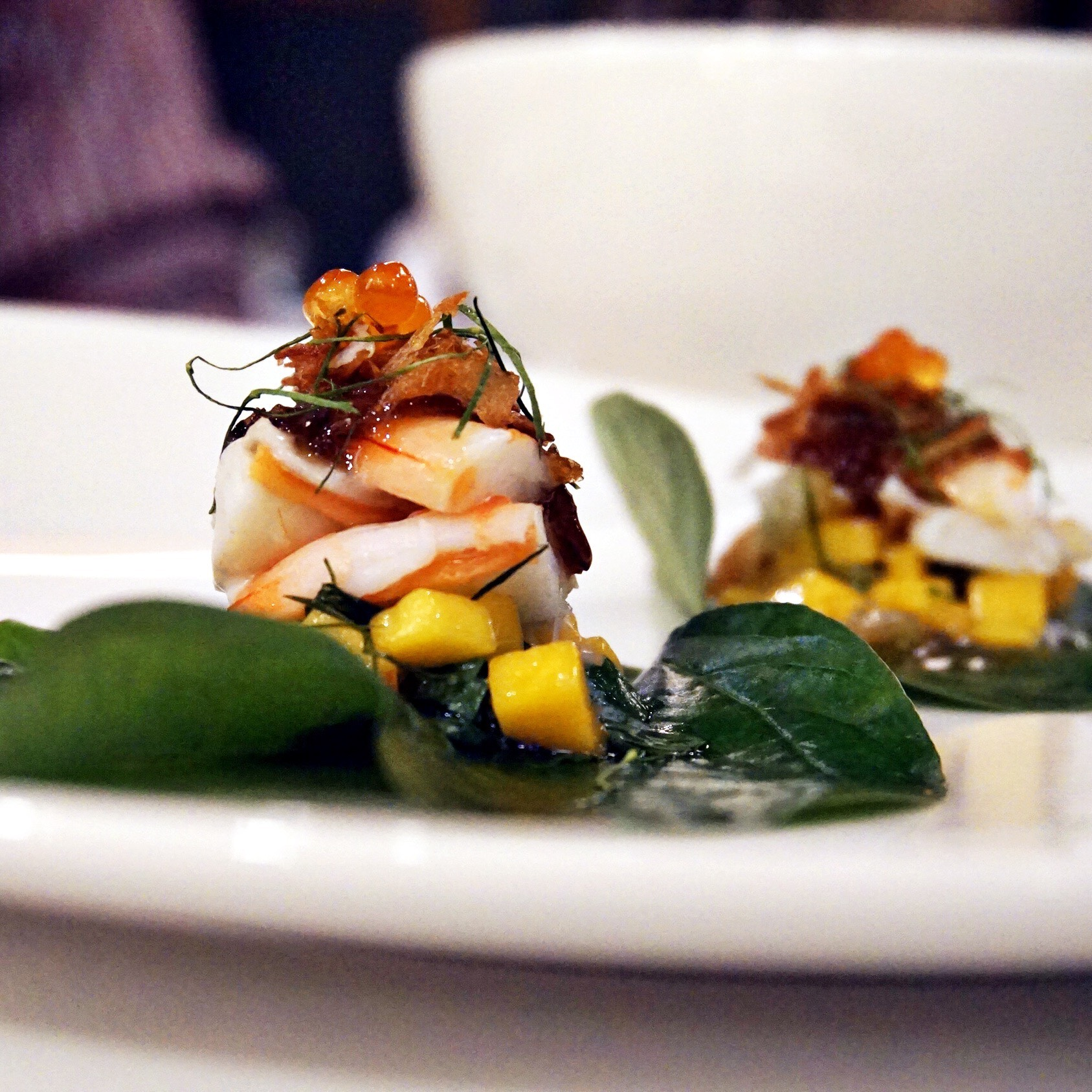 Betel leaves with Poached King Prawns