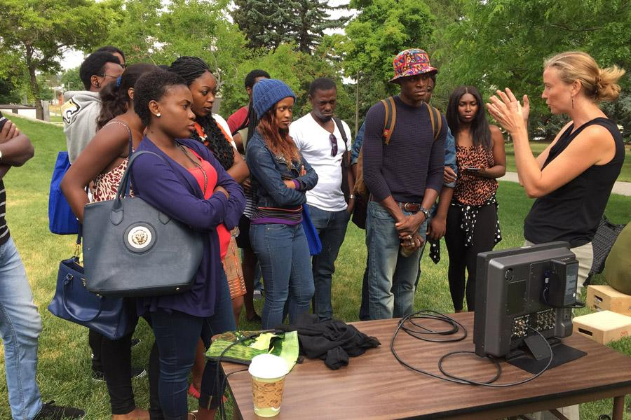 Kathy teaches a documentary filmmaking class to the Ford Foundation students.