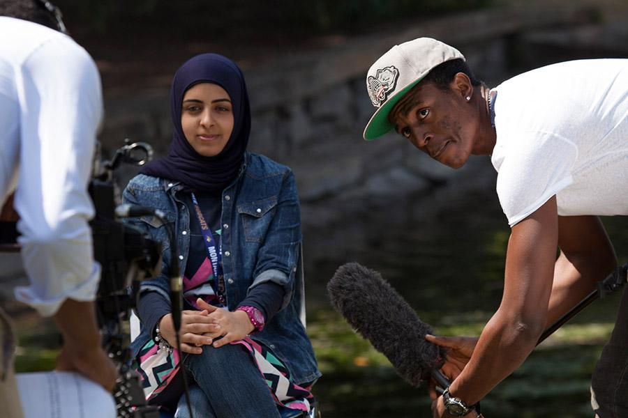 Ford Foundation African Documentary students interview a Middle Eastern Program student.