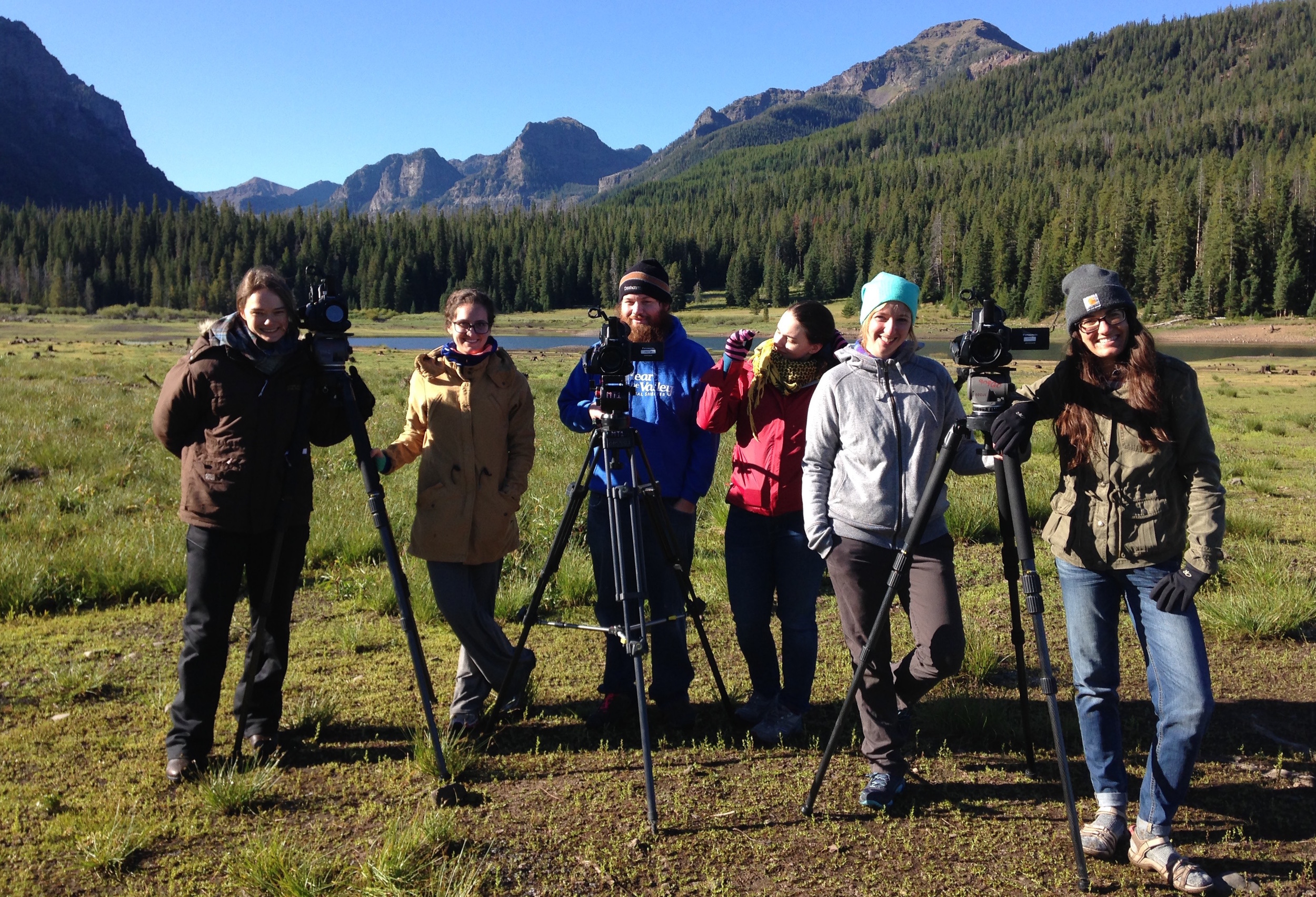 Graduate students in Kathy's advanced cinematography go to Hyalite National Forest for class.
