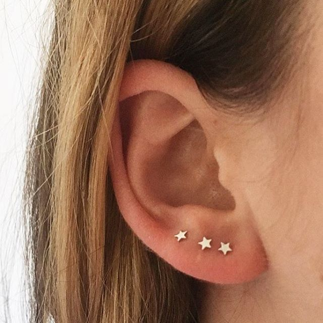 Our teeny tiny Tess Star Studs, the perfect earring for multiples! Available in silver, gold and rose gold. 💫