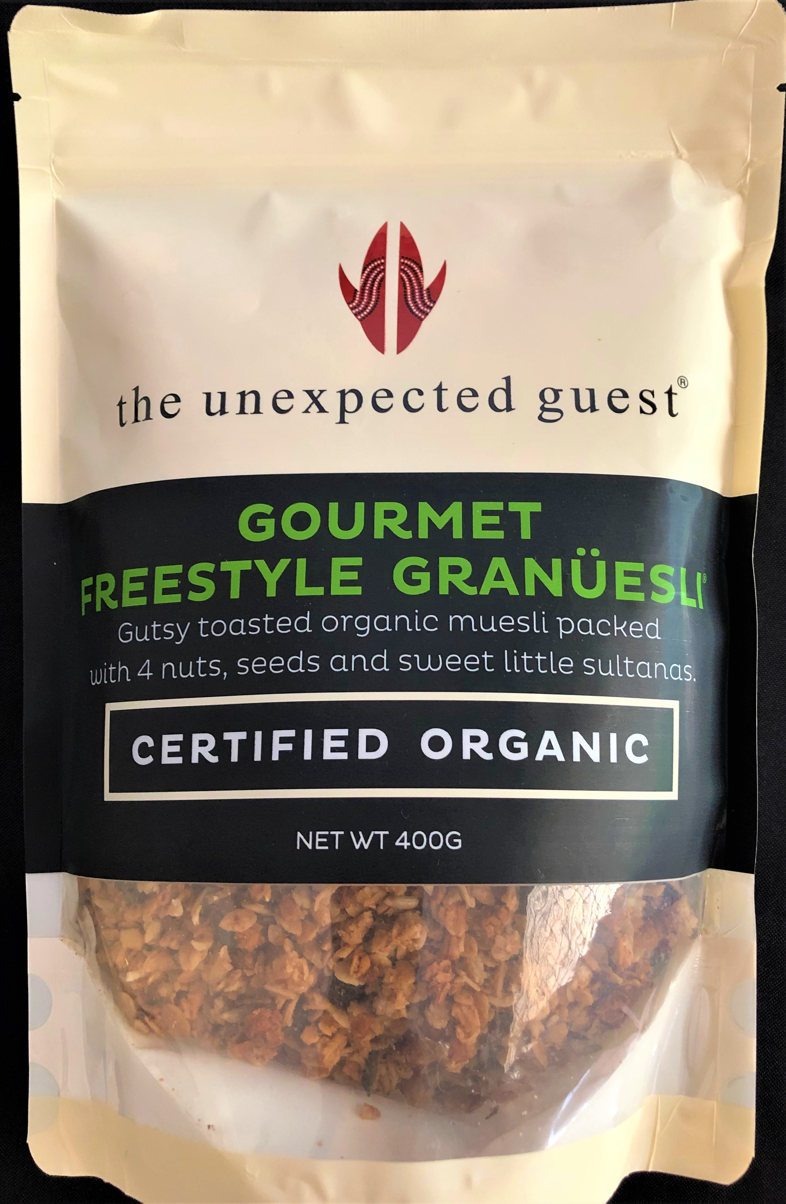 Gourmet Freestyle Granuesli - Gutsy toasted organic muesli packed with 4 nuts, seeds and sweet little sultanas