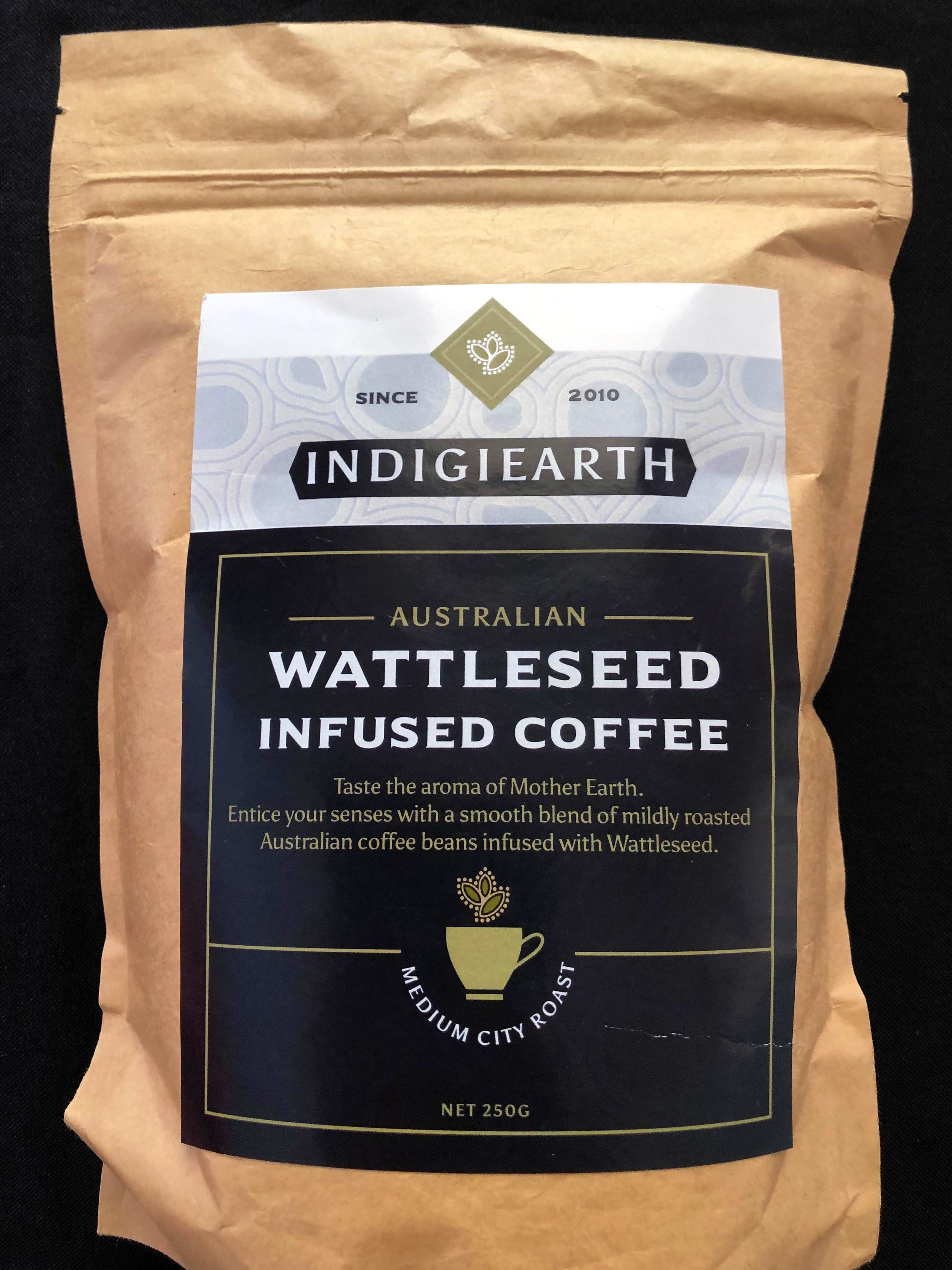 Wattleseed Infused Coffee - The natural coffee hints from native wattleseed add an additional dimension to this Australian grown and ground coffee bean blend.