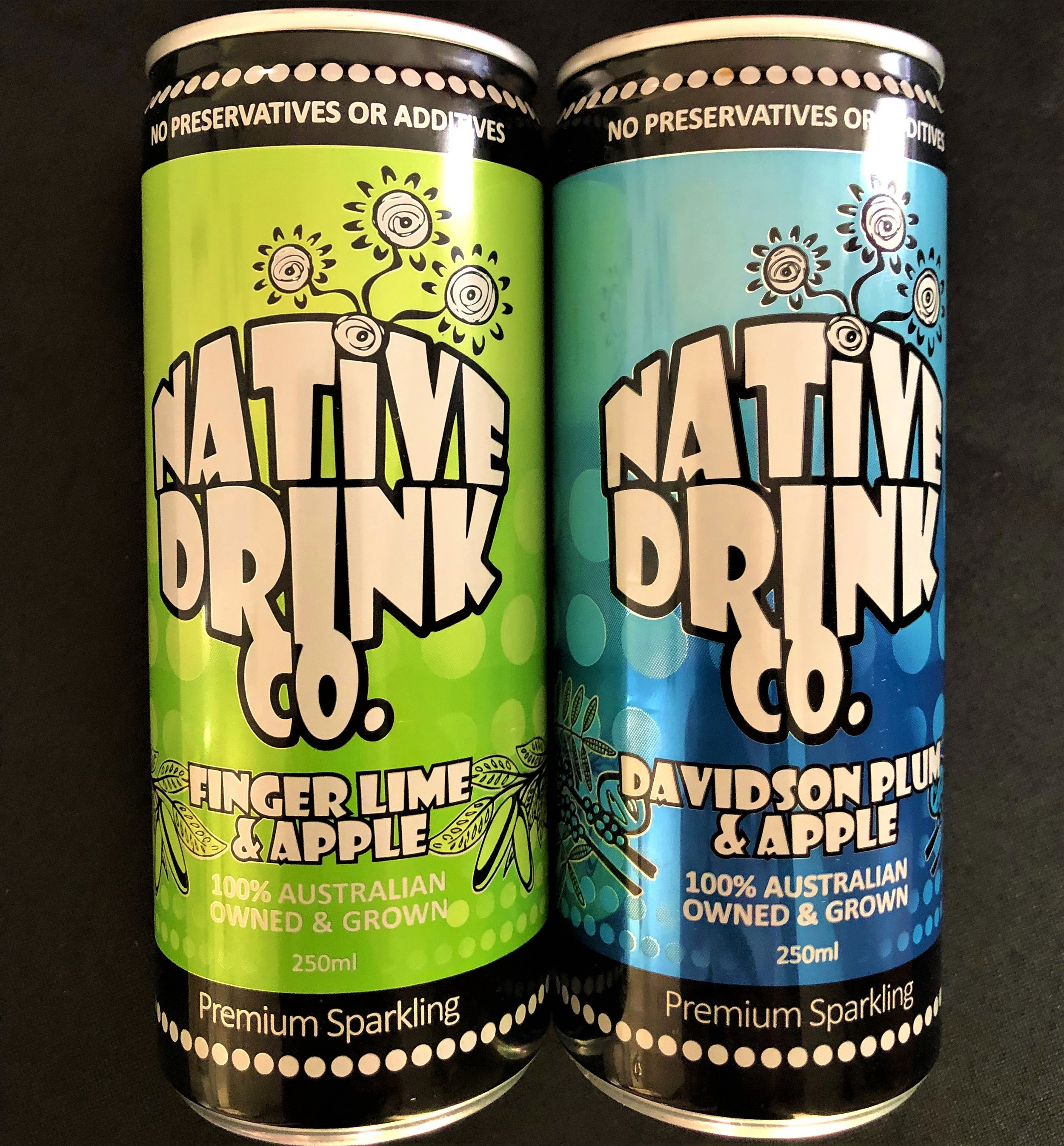 Sparkling Native Fruit Drinks - 2 premium Australian flavours - Finger Lime with Apple and Davidson Plum with Apple