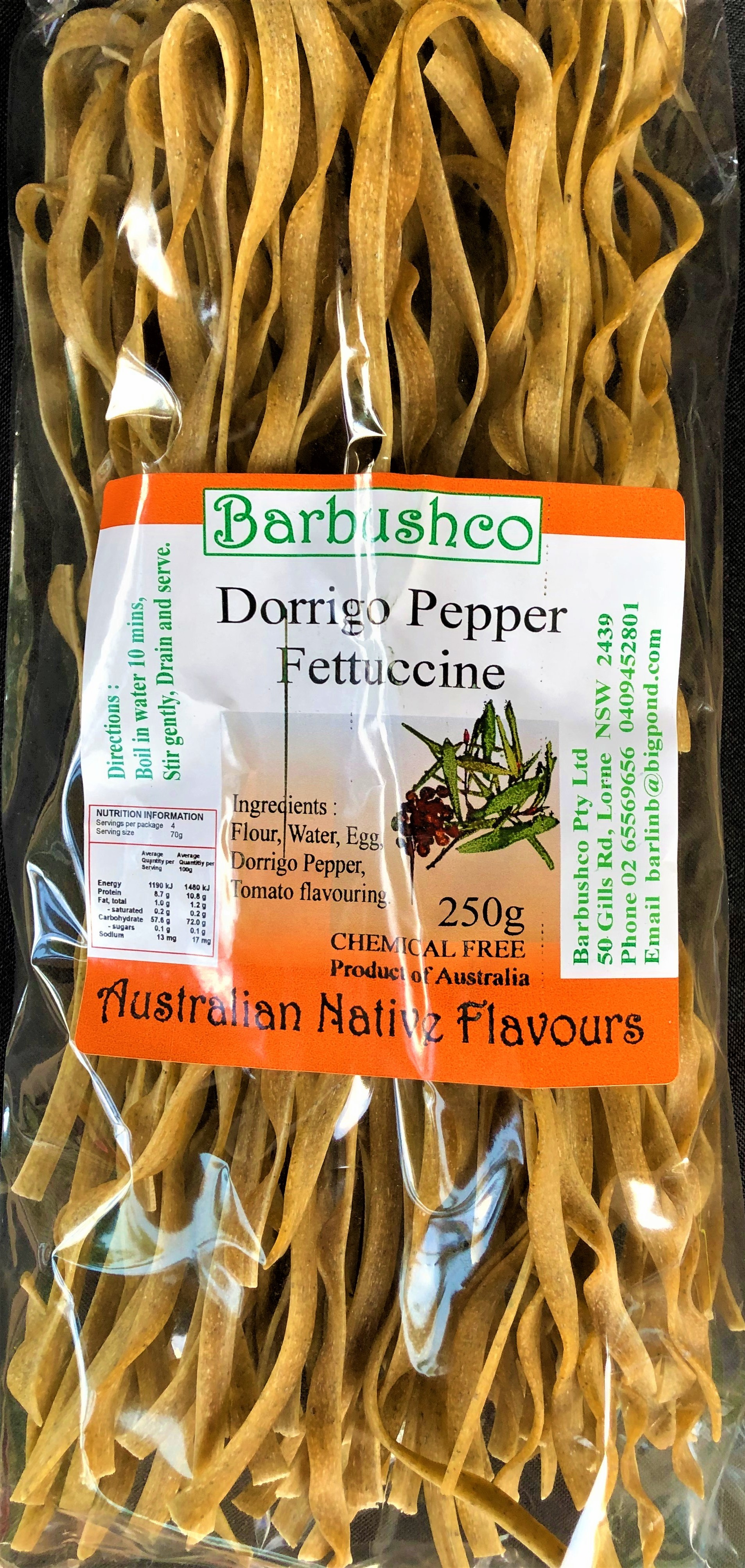 Dorrigo Pepper Fettuccine - Dorrigo Pepper is an Australian leaf pepper with a medium to hot flavour. This infused fettuccine is best served with tomato based sauces, such as bolognese.