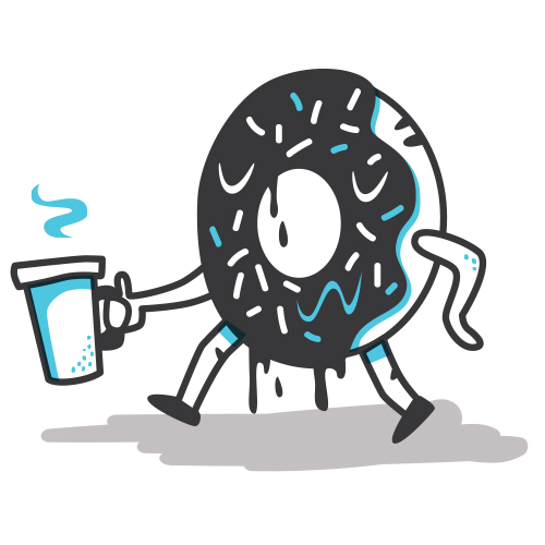 Donut with coffee illustration