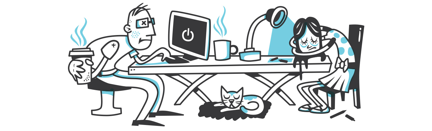Office worker holds coffee while co-worker and cat sleep.