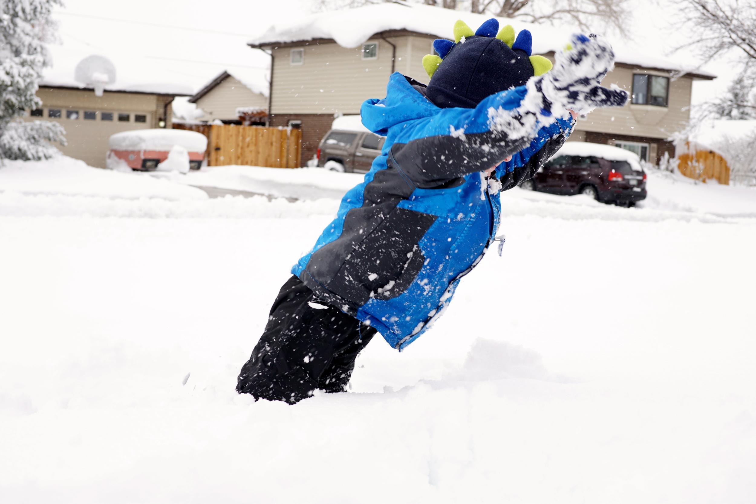 Porpoising through the snow.