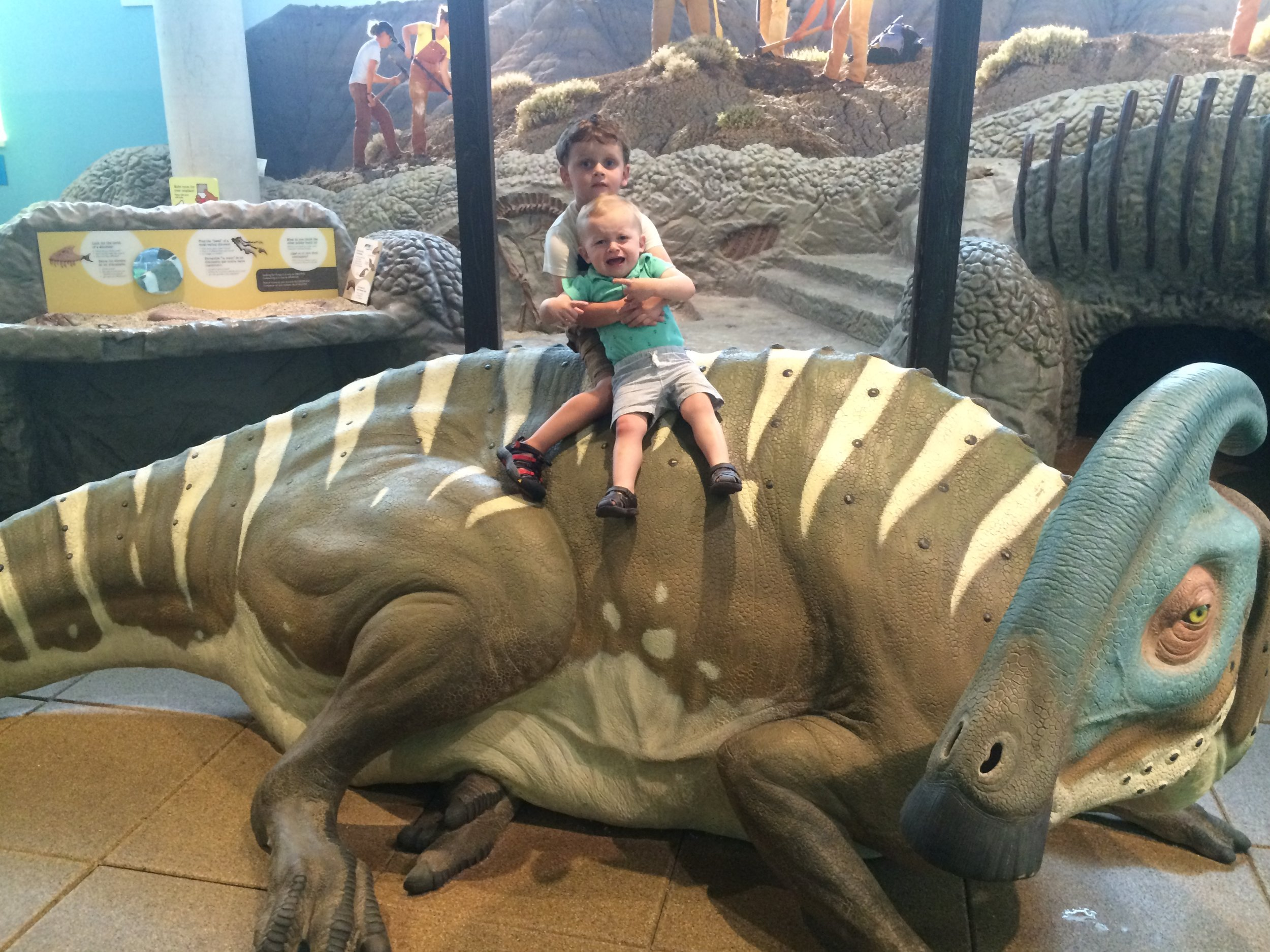 I took my boys to the museum with my friend, Miranda and her kids. I thought Finn wanted to sit on the dinosaur with Asher. I thought wrong.