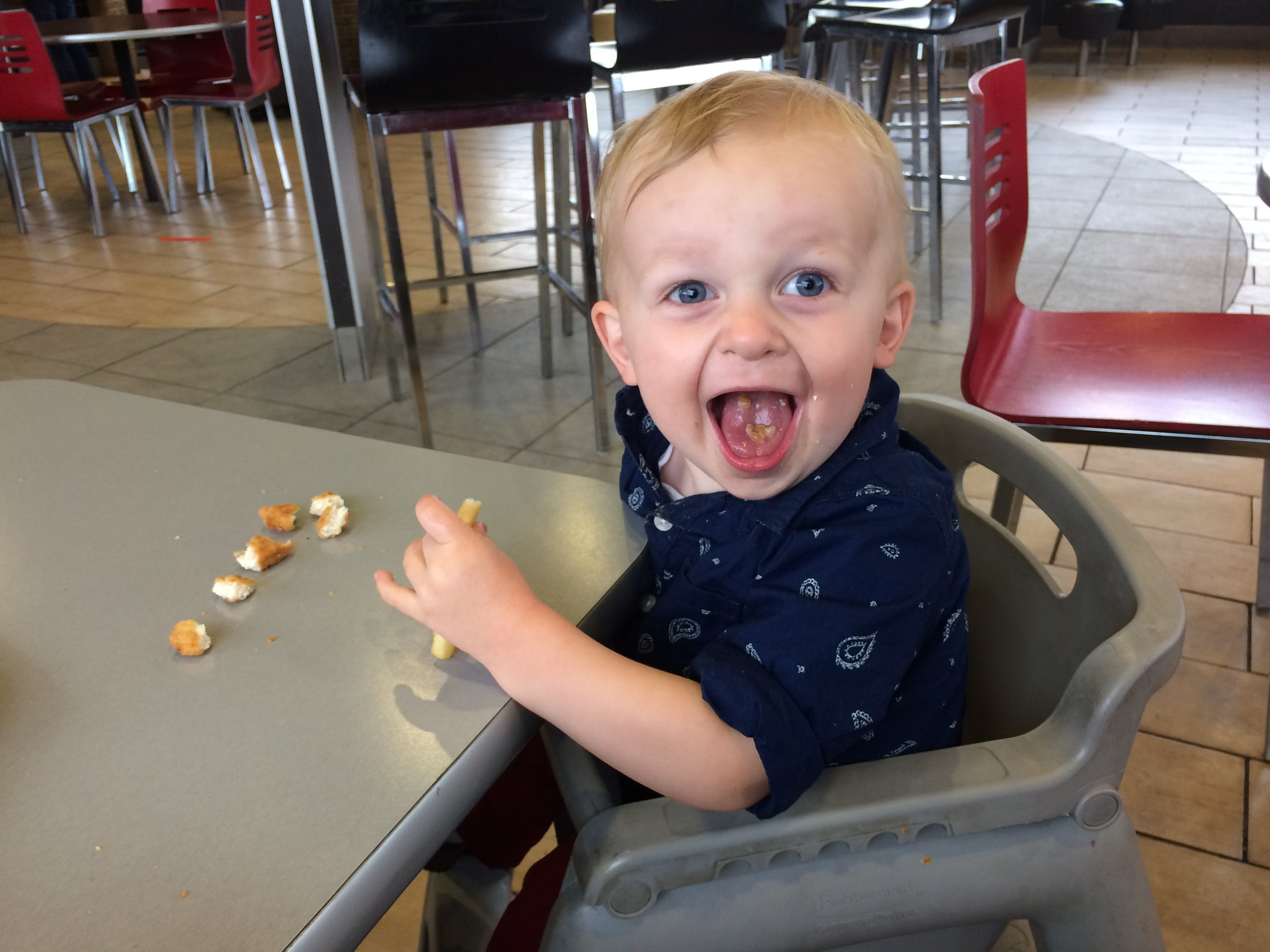 He's such a ham, as he demonstrated when we stopped at Burger King on the way to Rock Springs.