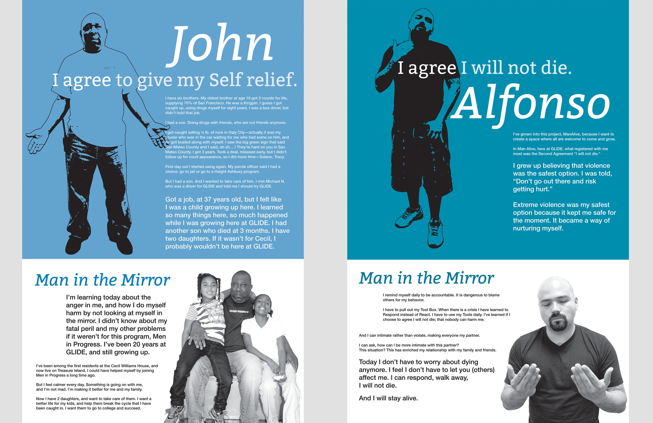 Glide Foundation : Men In Progress workshop posters