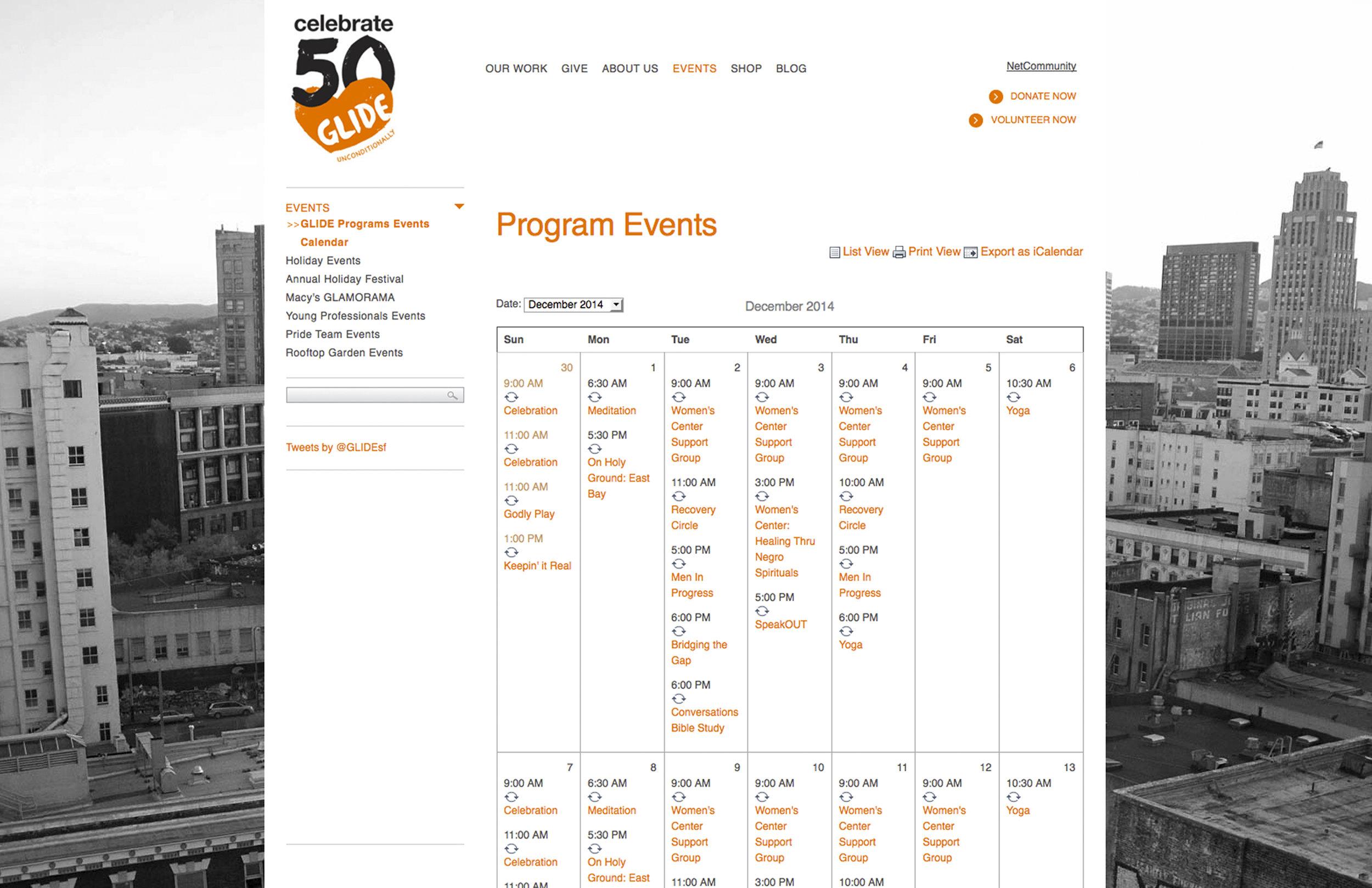 Glide Foundation website : Blackbaud / NetCommunity