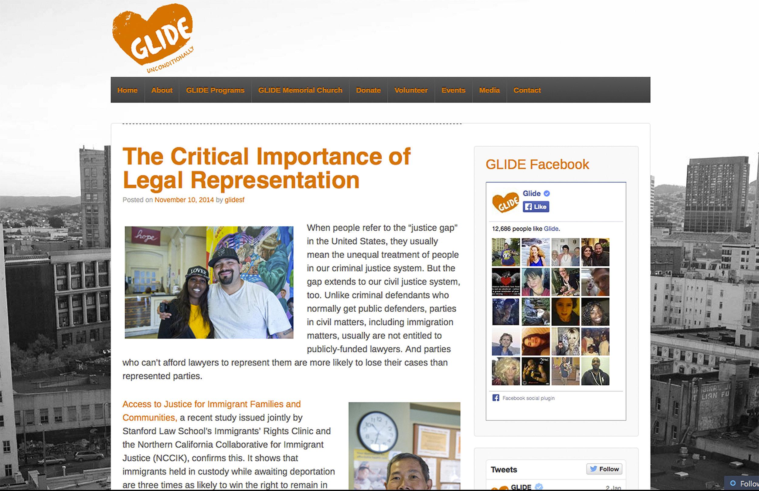 Glide Foundation blog : Wordpress
