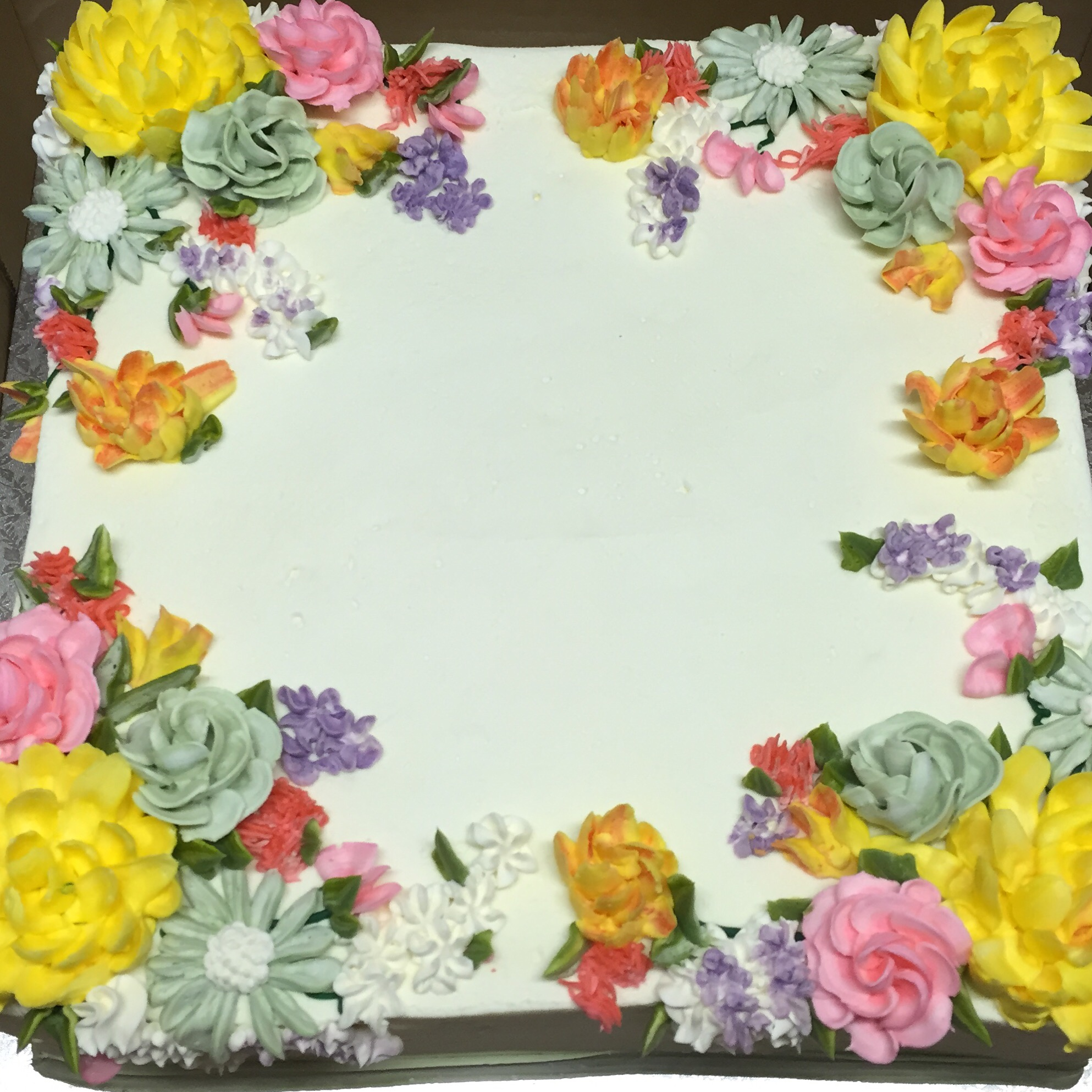 Pic #5: Square Cake with vanilla buttercream frosting, flowers