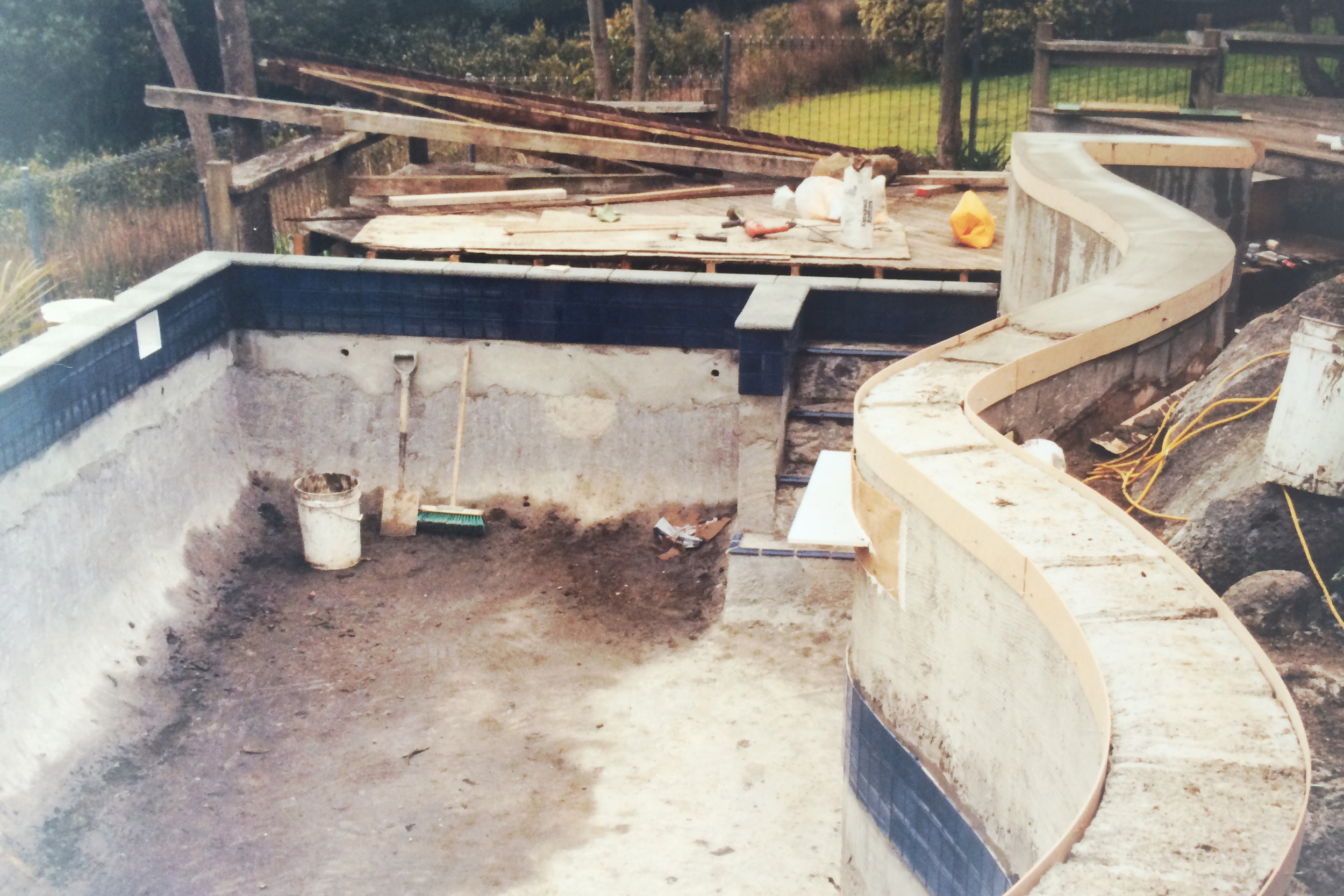 Completed tiling and shaping of pool