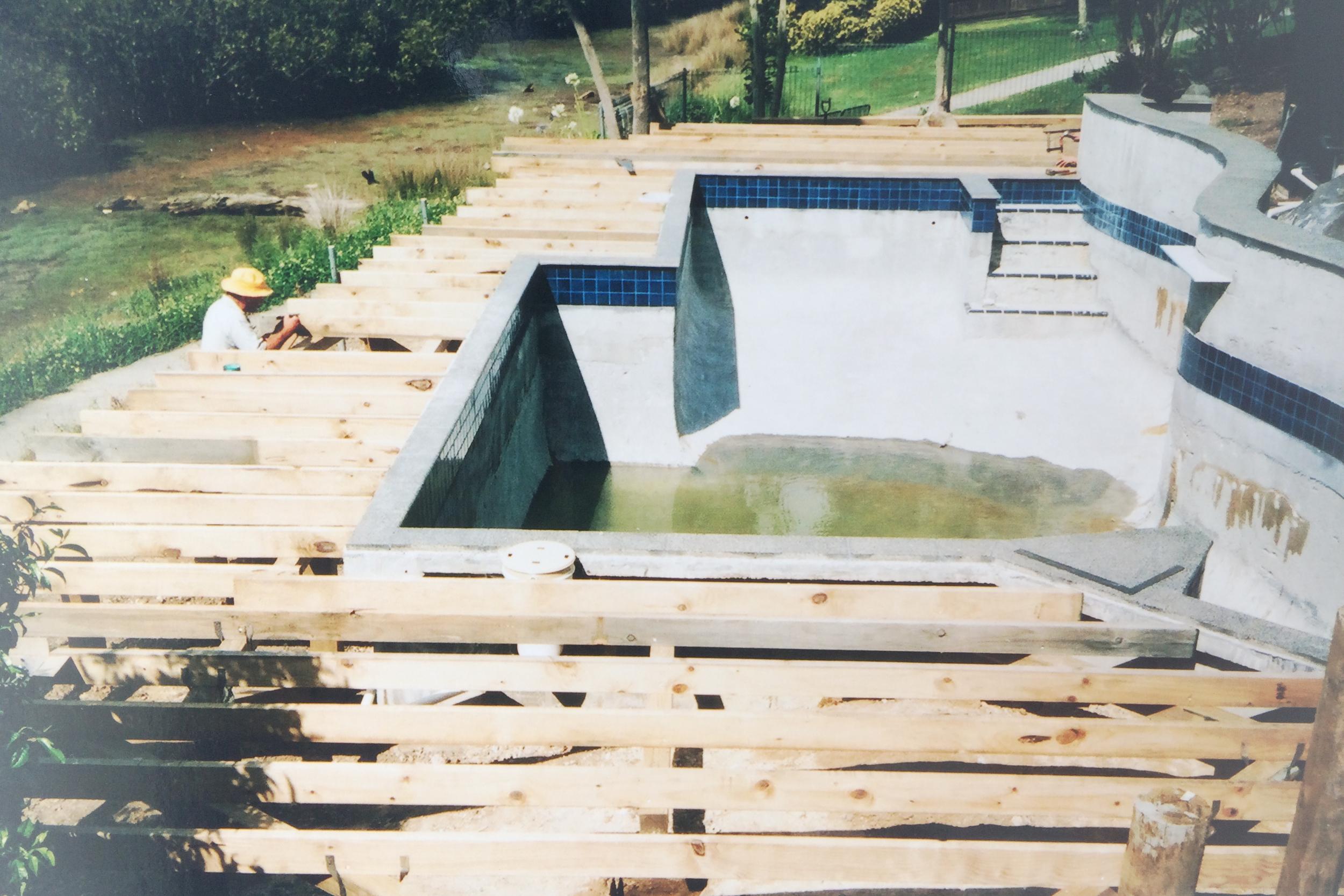 Deck structural work around pool