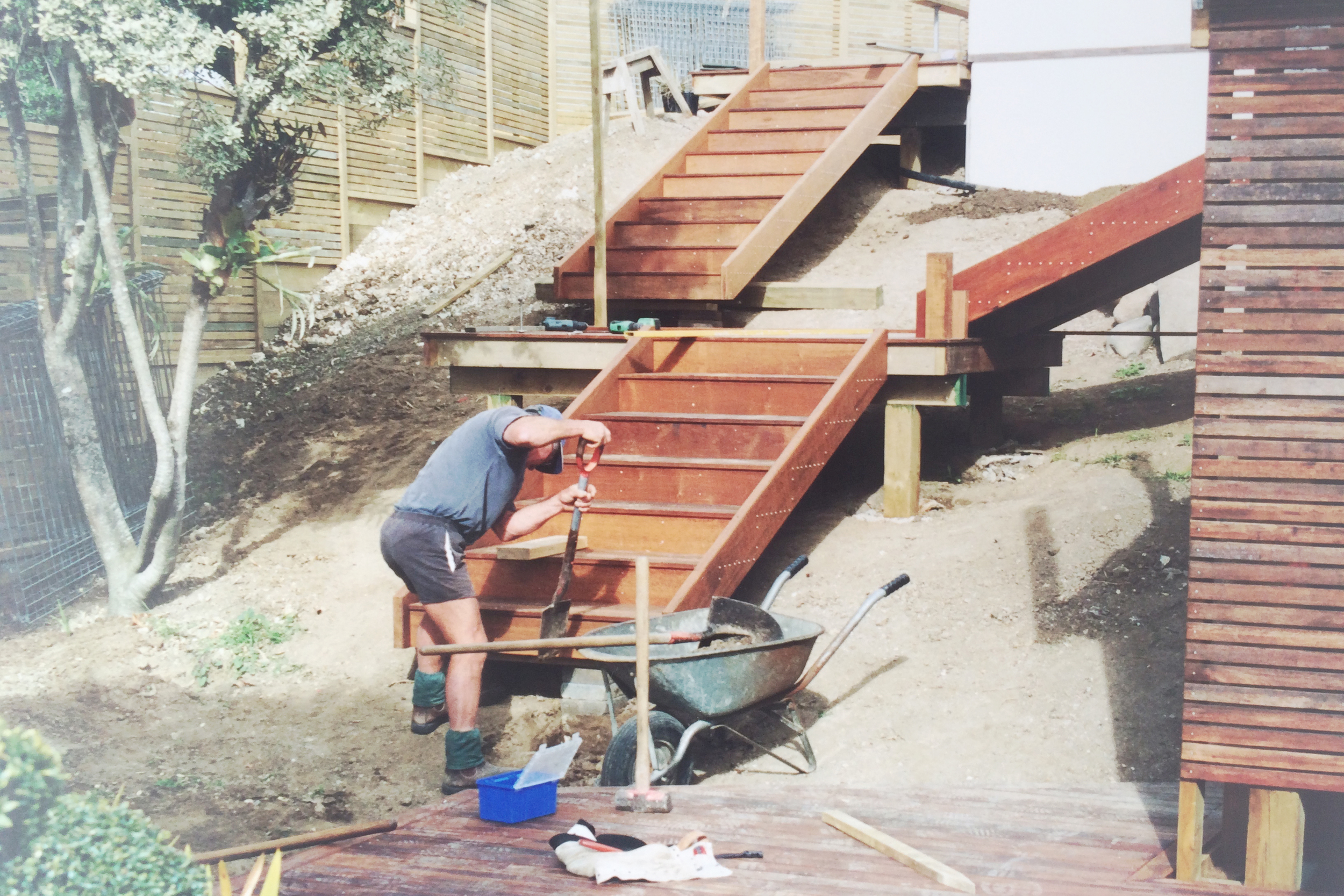 Stairs and platforms leading to pool area and main deck, Rod hard at work
